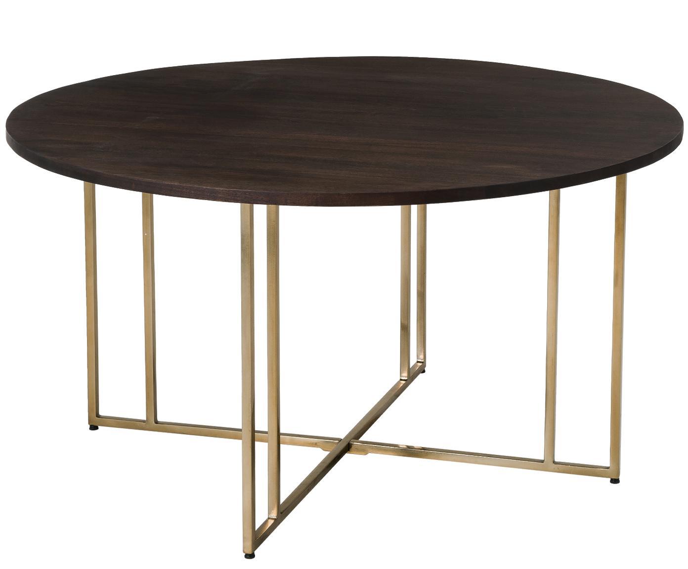 Okrągły stół do jadalni z litego drewna Luca, Blat: drewno mangowe, Stelaż: metal powlekany, Blat: drewno mangowe, ciemny, lakierowany Stelaż: odcienie złotego, Ø 140 x W 75 cm