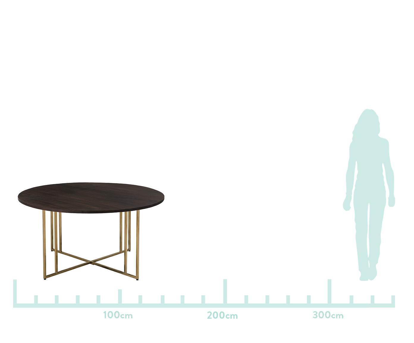 Rond massief houten eettafel Luca, Tafelblad: mangohout, Frame: gecoat metaal, Tafelblad: donker gelakt mangohout. Frame: goudkleurig, Ø 140 x H 75 cm