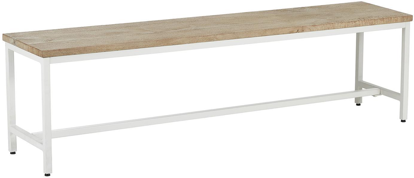 Bank Raw van massief mangohout, Zitvlak: massief mangohout, gebors, Frame: gepoedercoat metaal, Tafelblad: mangohoutkleurig met inkepingen. Frame: mat wit, 170 x 47 cm