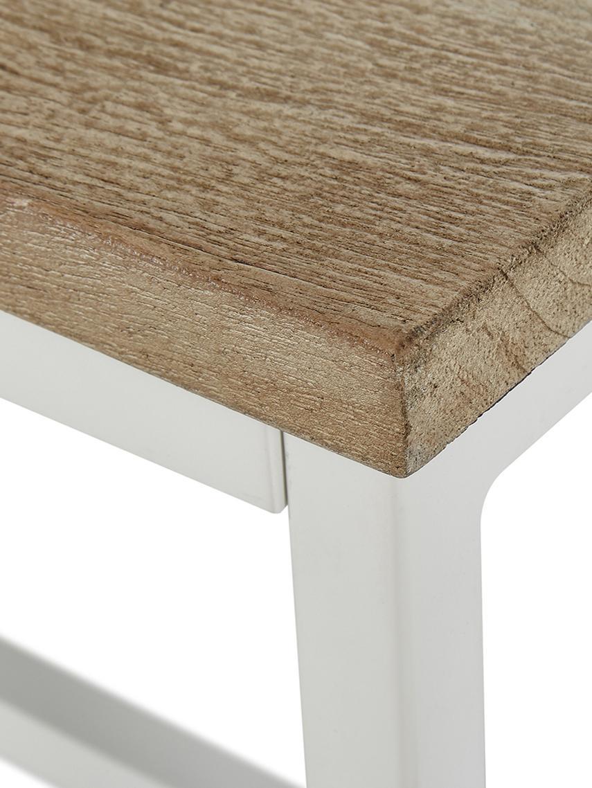 Sitzbank Raw aus massivem Mangoholz, Sitzfläche: Massives Mangoholz, gebür, Gestell: Metall, pulverbeschichtet, Sitzfläche: Mangoholz mit Kerben Gestell: Weiss, matt, 170 x 47 cm
