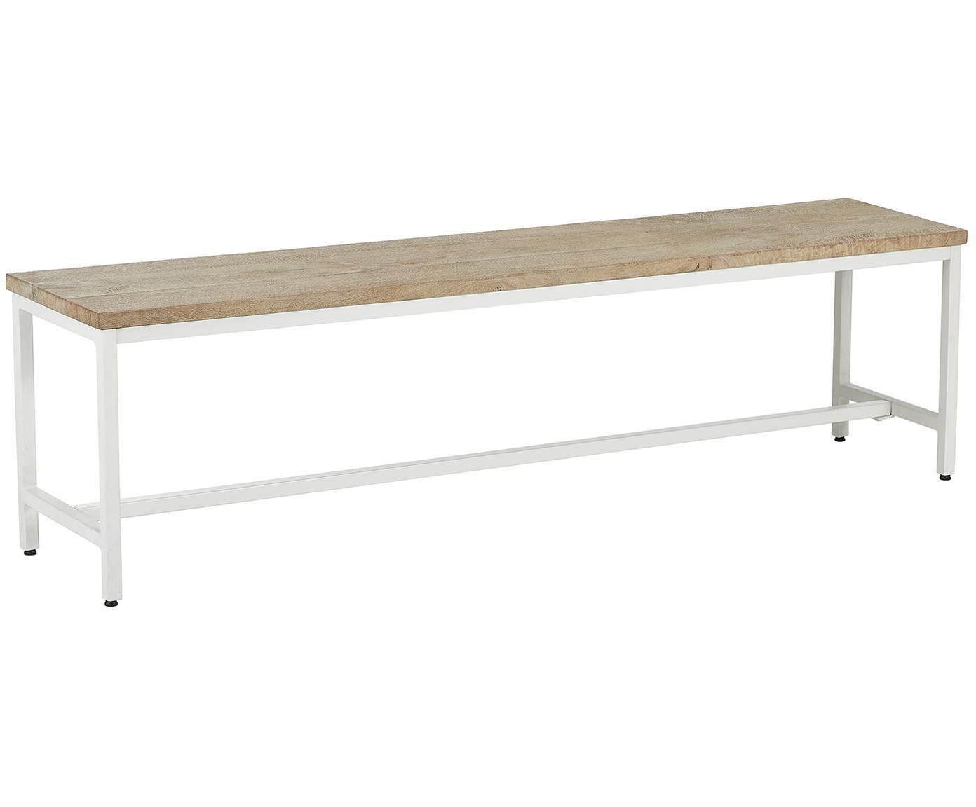 Banco de madera maciza Raw, Asiento: madera de mango maciza, c, Estructura: metal con pintura en polv, Asiento: madera de mango, Estructura: blanco mate, An 170 x Al 47 cm