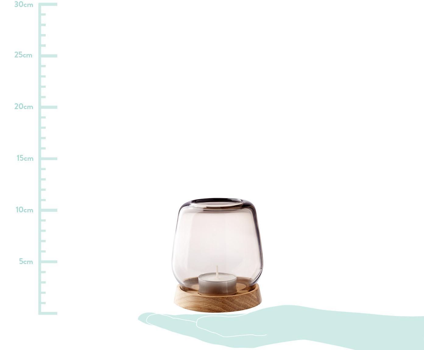 Windlicht Hurricane, Fuß: Eichenholz, Aufsatz: Glas, Fuß: Eichenholz<br>Aufsatz: Rosé, transparent, Ø 9 x H 10 cm