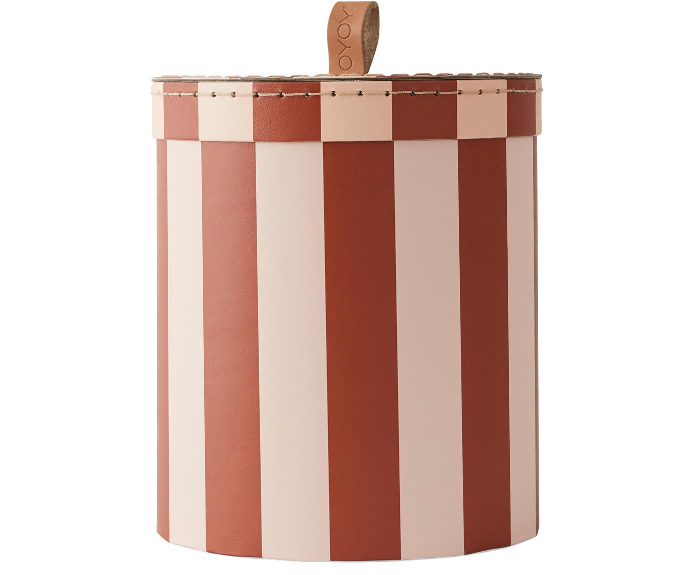Opbergdoos Cecila, Karton, leer, Rood, crèmekleurig, Ø 17 x H 20 cm