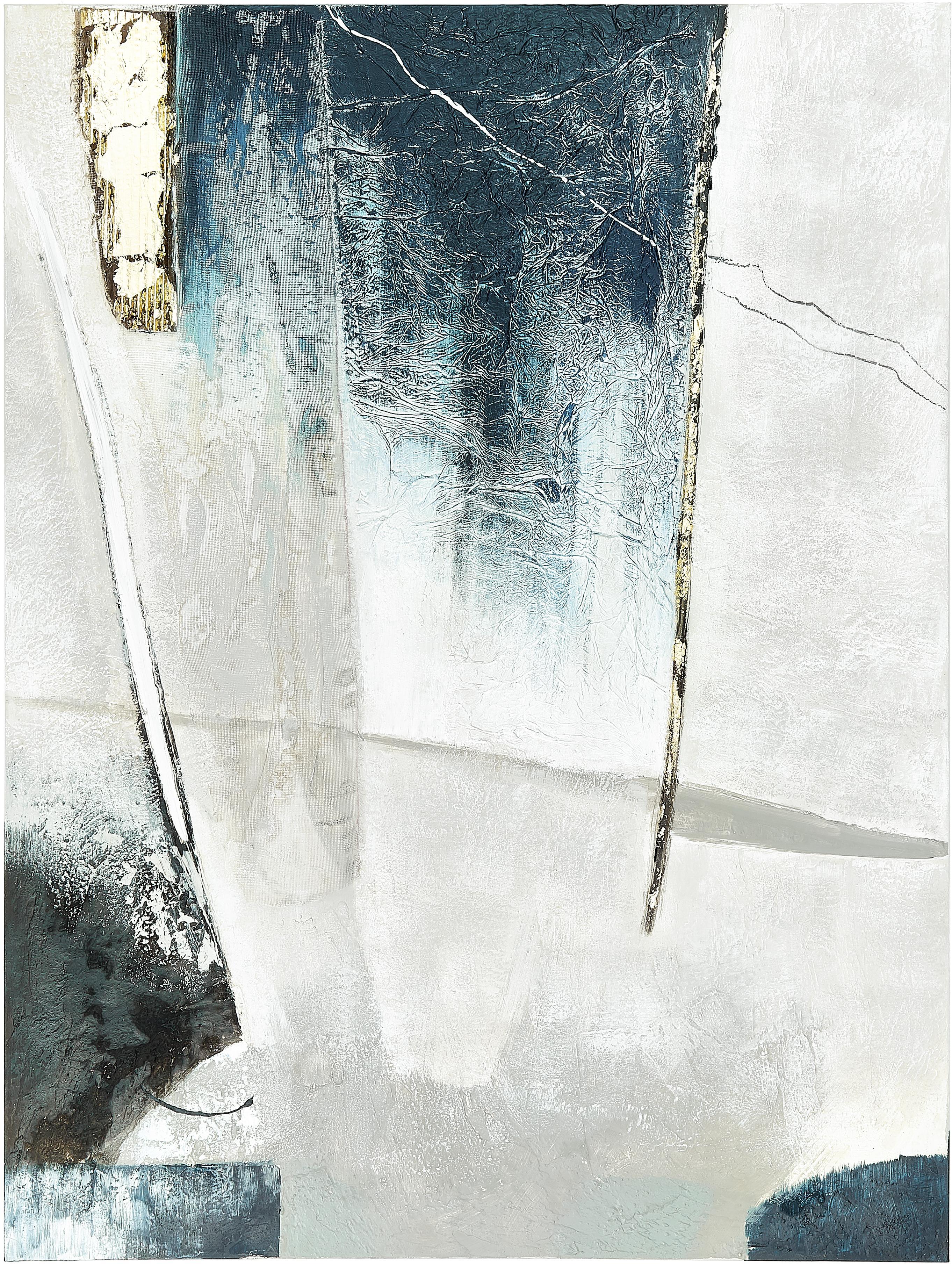 Handgeschilderde canvasdoek Golden Blue I, Afbeelding: olieverf op linnen (300 g, Multicolour, 90 x 120 cm