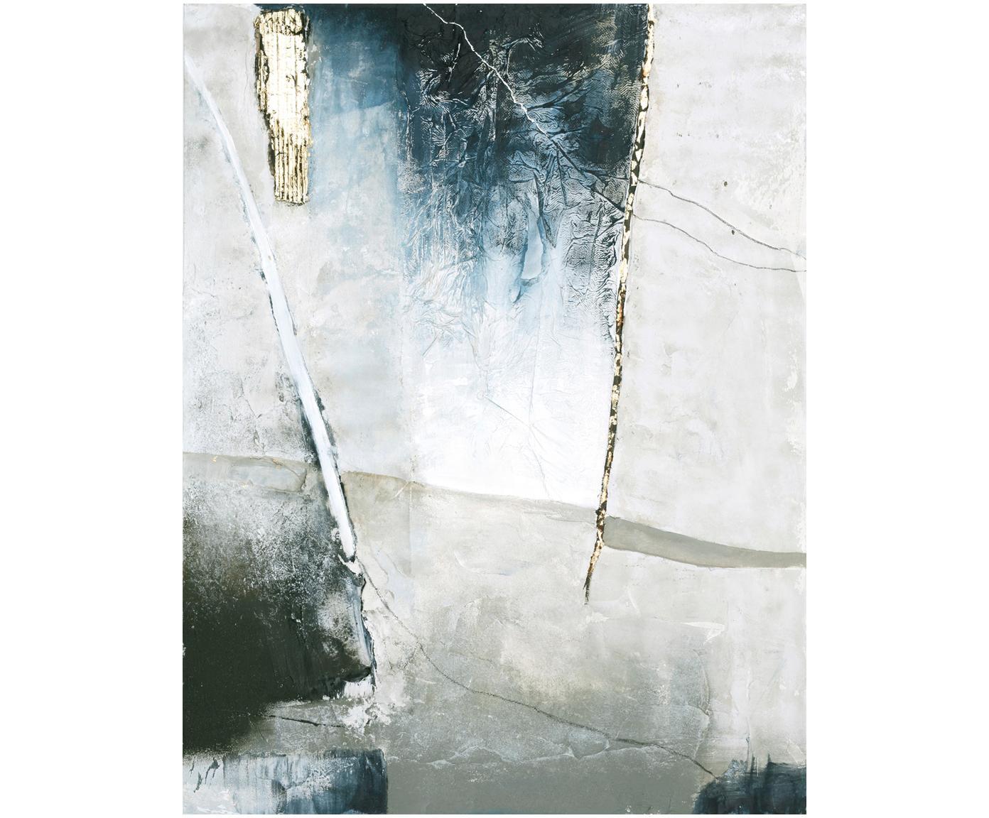 Quadro dipinto a mano Golden Blue I, Immagine: Pitture ad olio su tela (, Multicolore, Larg. 90 x Alt. 120 cm