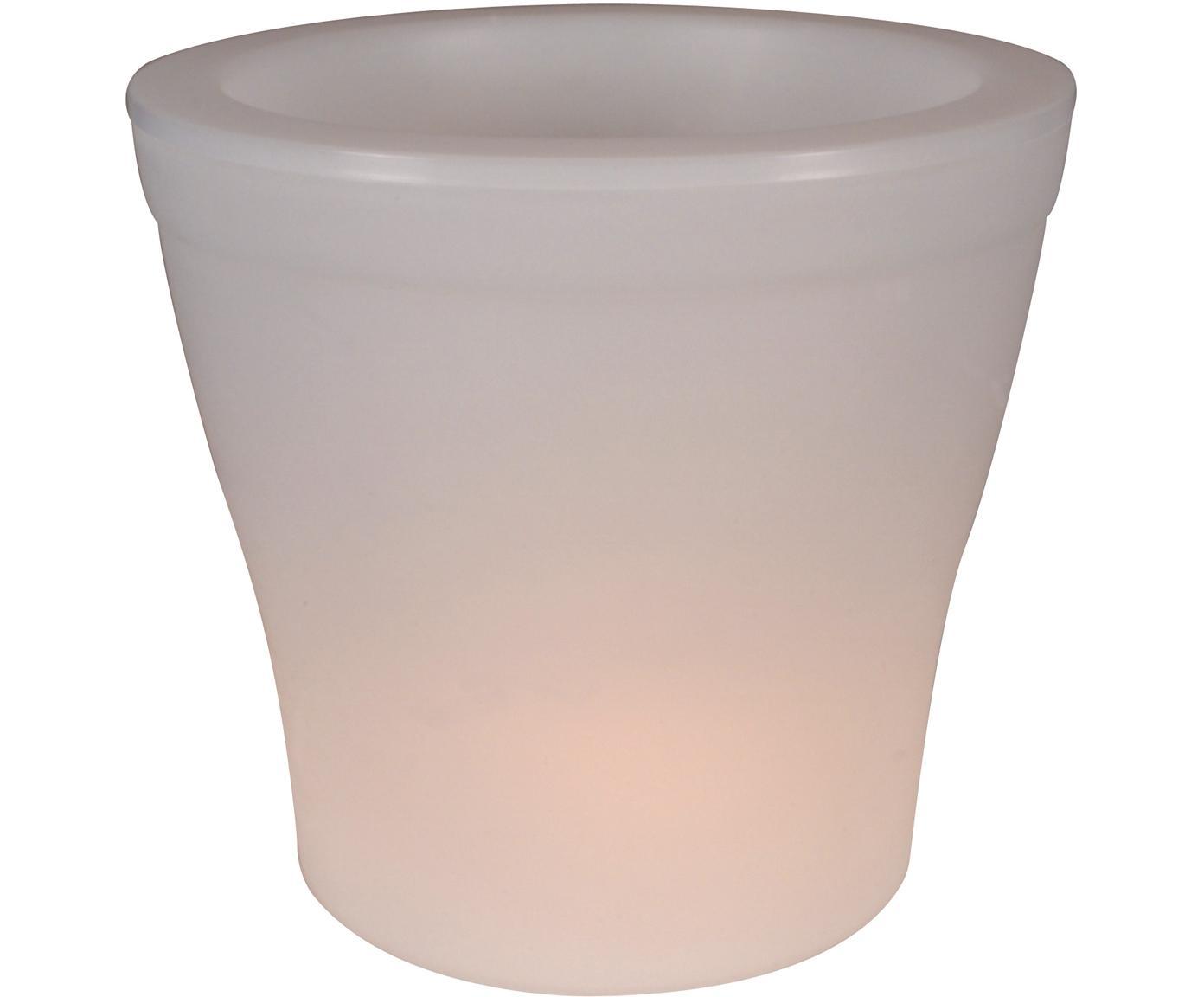 Mobiele outdoor LED lamp Flowerpot, Kunststof, Wit, Ø 39 x H 37 cm