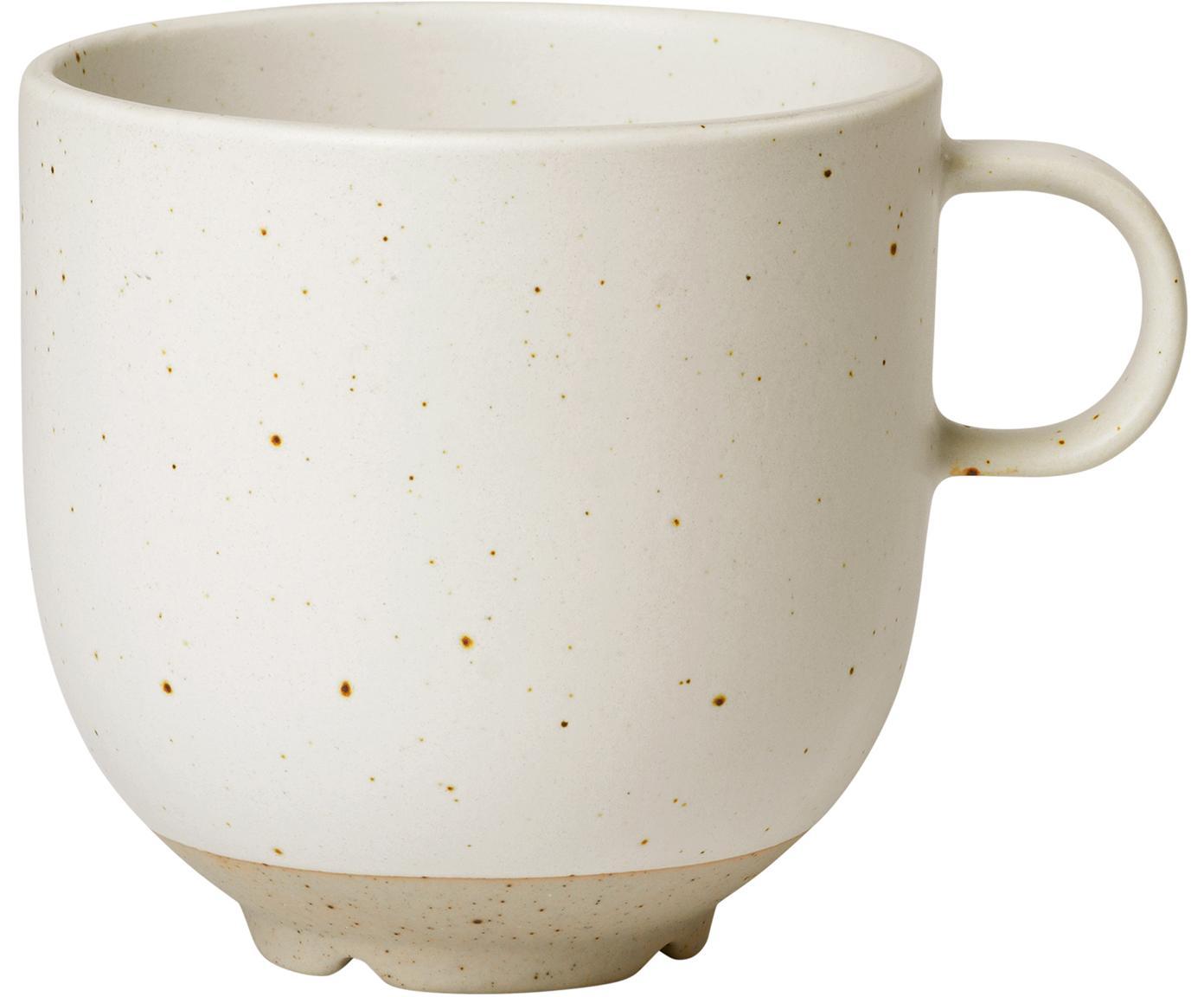 Steingut-Tassen Eli mit mattem Finish, 4 Stück, Steingut, Beige, Hellgrau, Ø 8 x H 8 cm