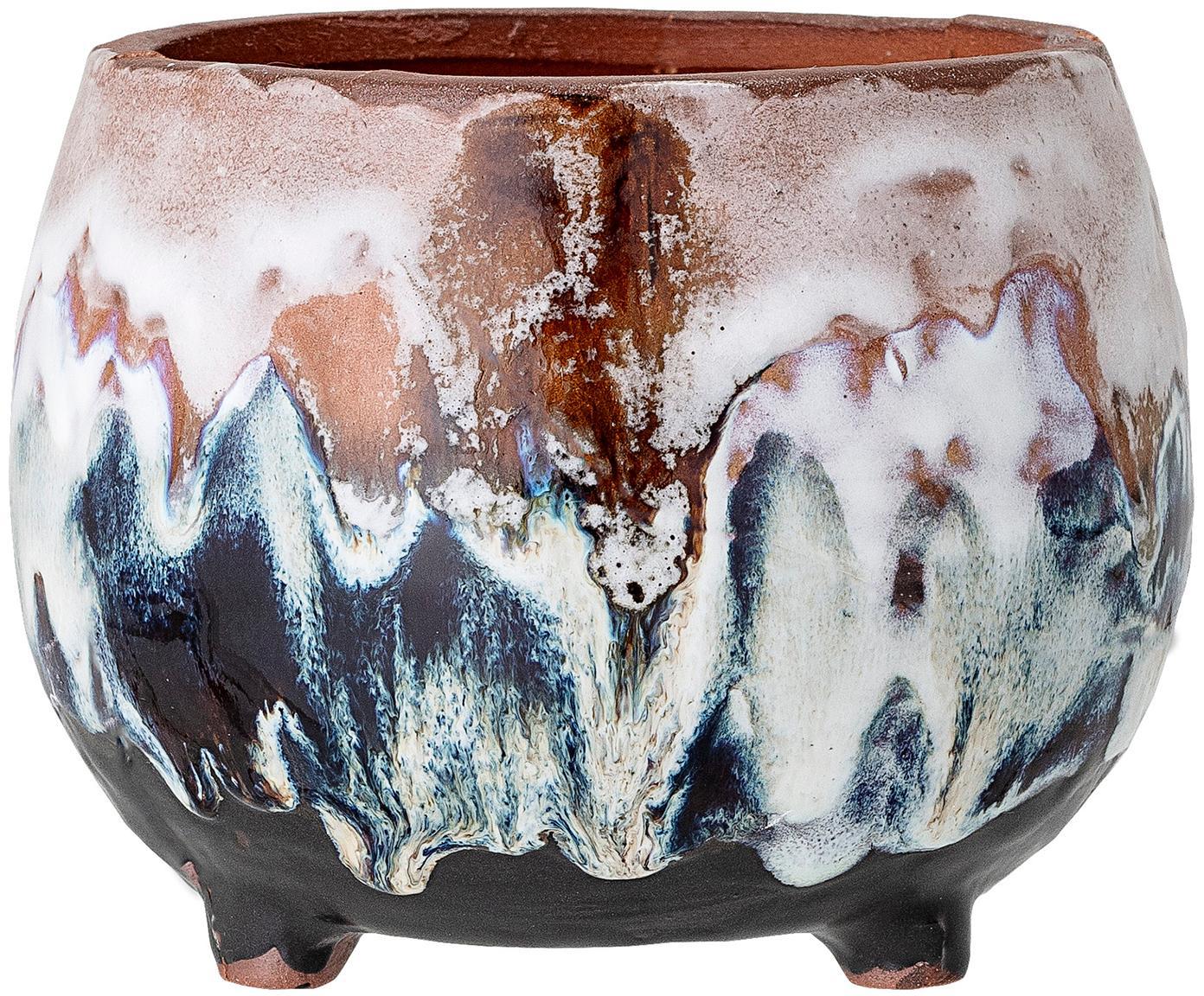 Kleiner handgefertigter Übertopf Sasa aus Terrakotta, Terracotta, Mehrfarbig, Ø 14 x H 11 cm