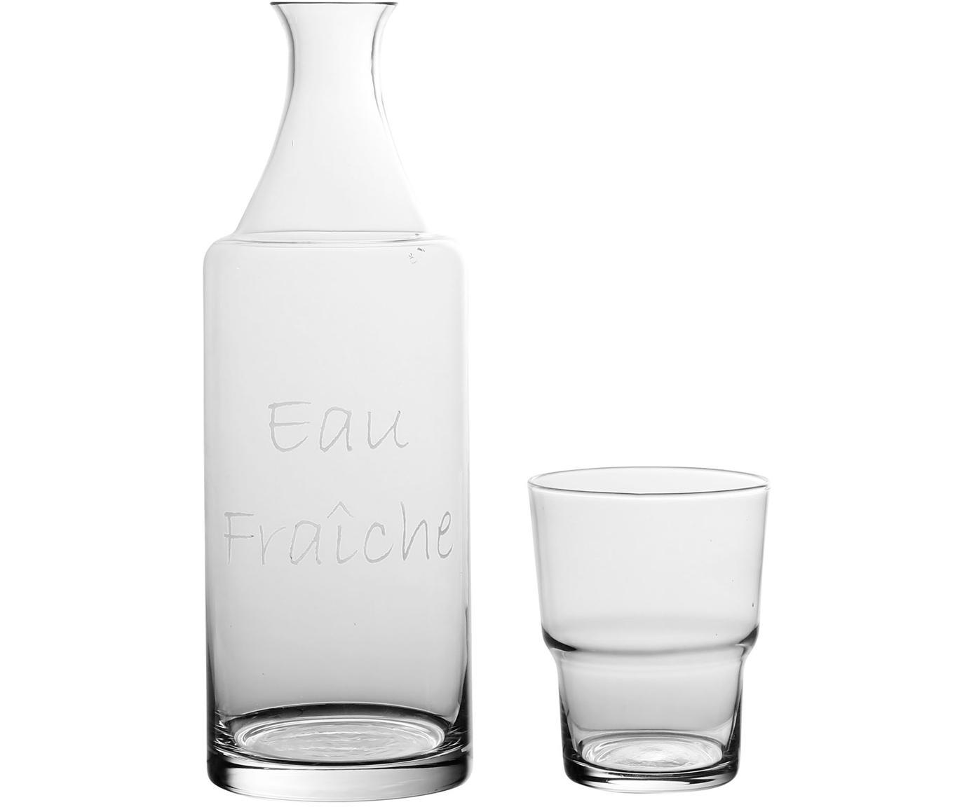 Karaffen-Set Pilla mit silberfarbener Aufschrift, 2-tlg., Glas, Transparent, 1 L