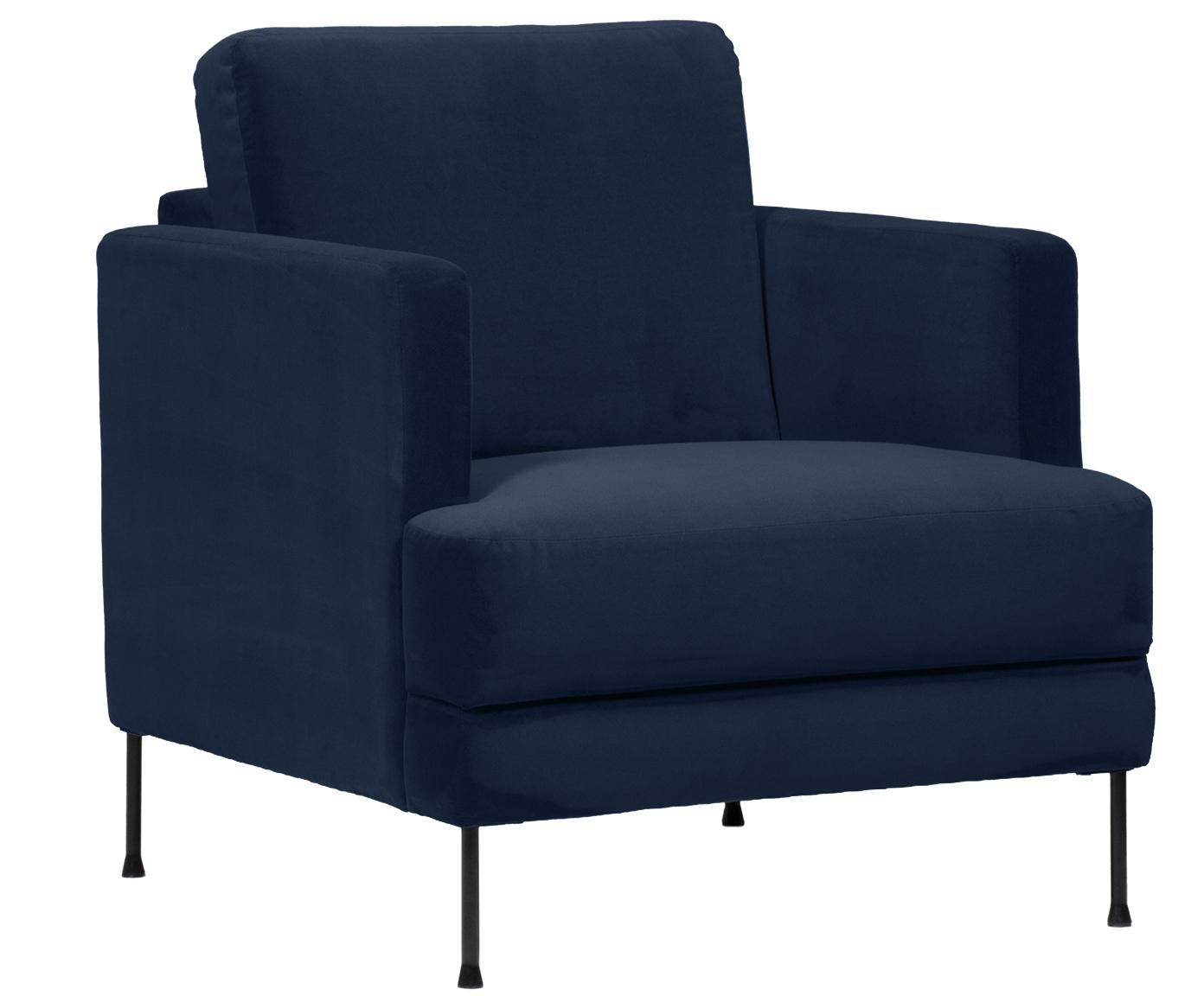 Fluwelen fauteuil Fluente, Bekleding: fluweel (hoogwaardig poly, Frame: massief grenenhout, Poten: gelakt metaal, Donkerblauw, B 76 x D 83 cm
