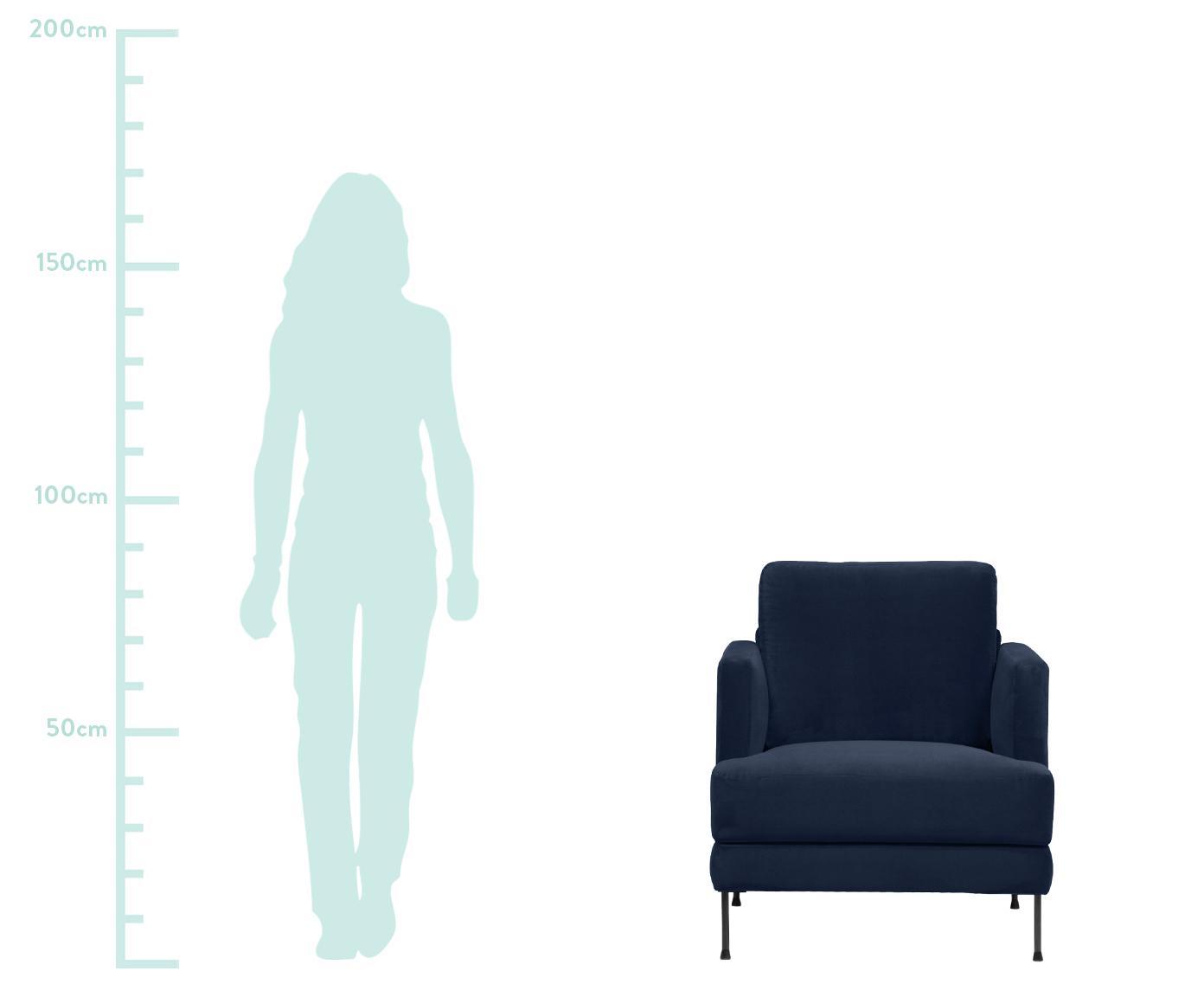Fotel z aksamitu Fluente, Tapicerka: aksamit (wysokiej jakości, Stelaż: lite drewno sosnowe, Nogi: metal lakierowany, Ciemny niebieski aksamit, S 76 x G 83 cm