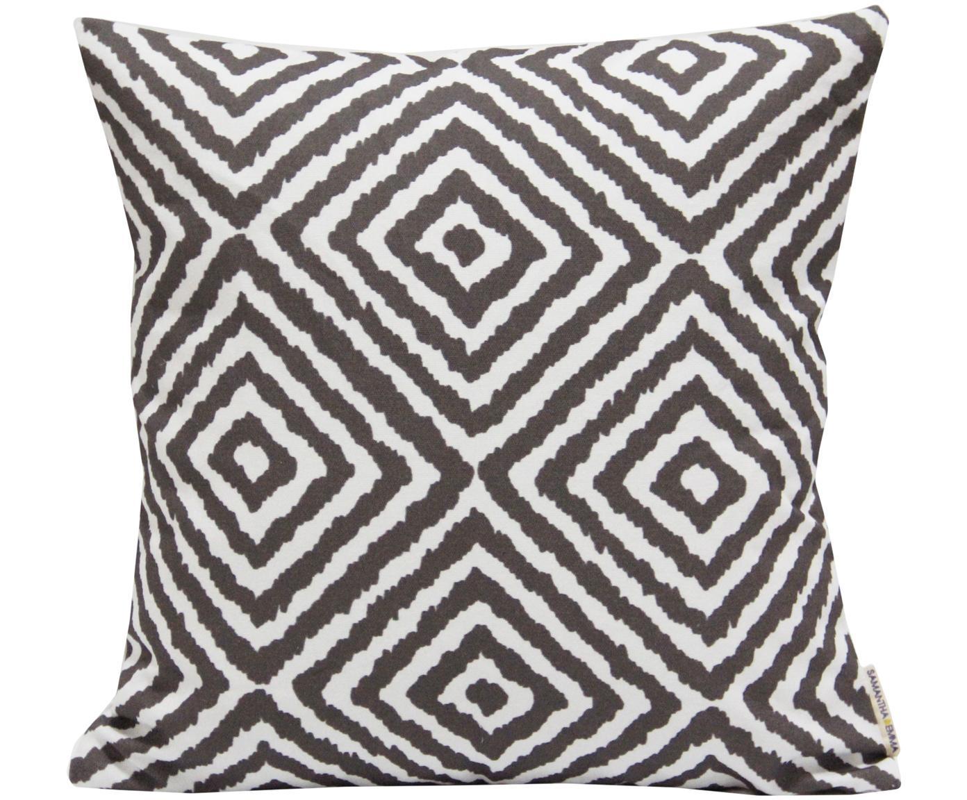 Kissenhülle Henry mit grafischem Muster, 100% Baumwolle, Weiss, Schwarz, 45 x 45 cm