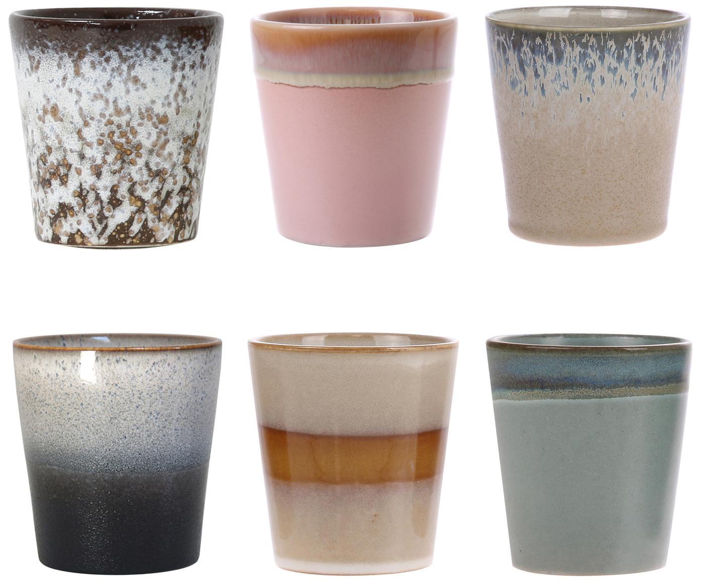 Handgemaakte XS-bekerset 70's, 6-delig, Keramiek, Roze, beige, blauw, Ø 8 x H 8 cm