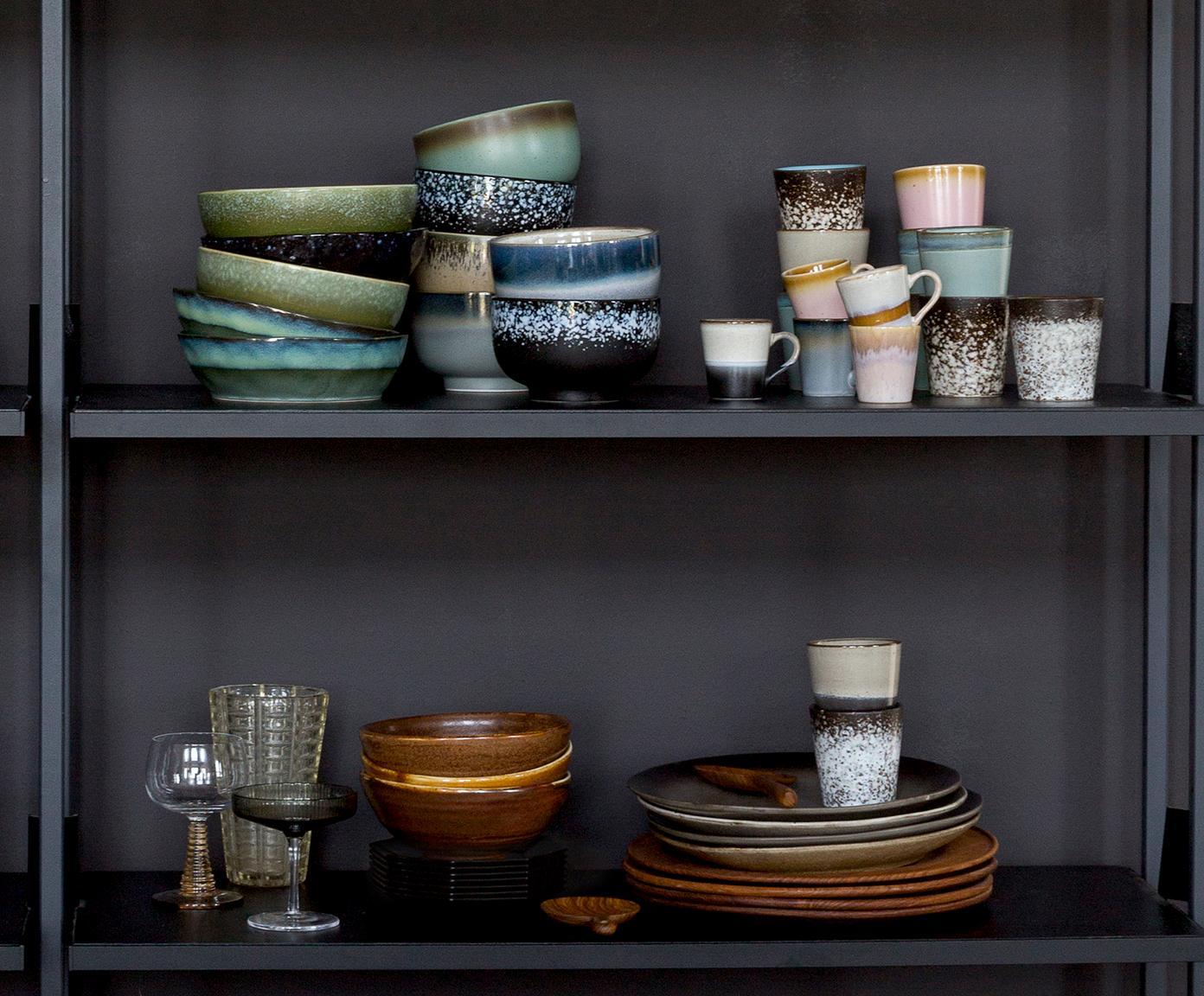 Handgemachtes XS Becher-Set 70's, 6-tlg., Keramik, Rosa, Beige, Blau, Ø 8 x H 8 cm