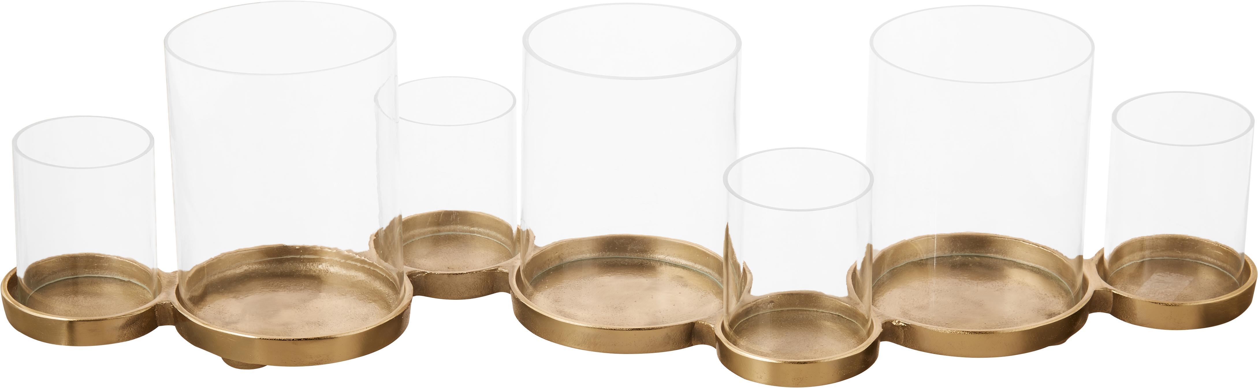 Portacandela Myra, Portacandela: vetro, Champagne, Larg. 58 x Alt. 14 cm
