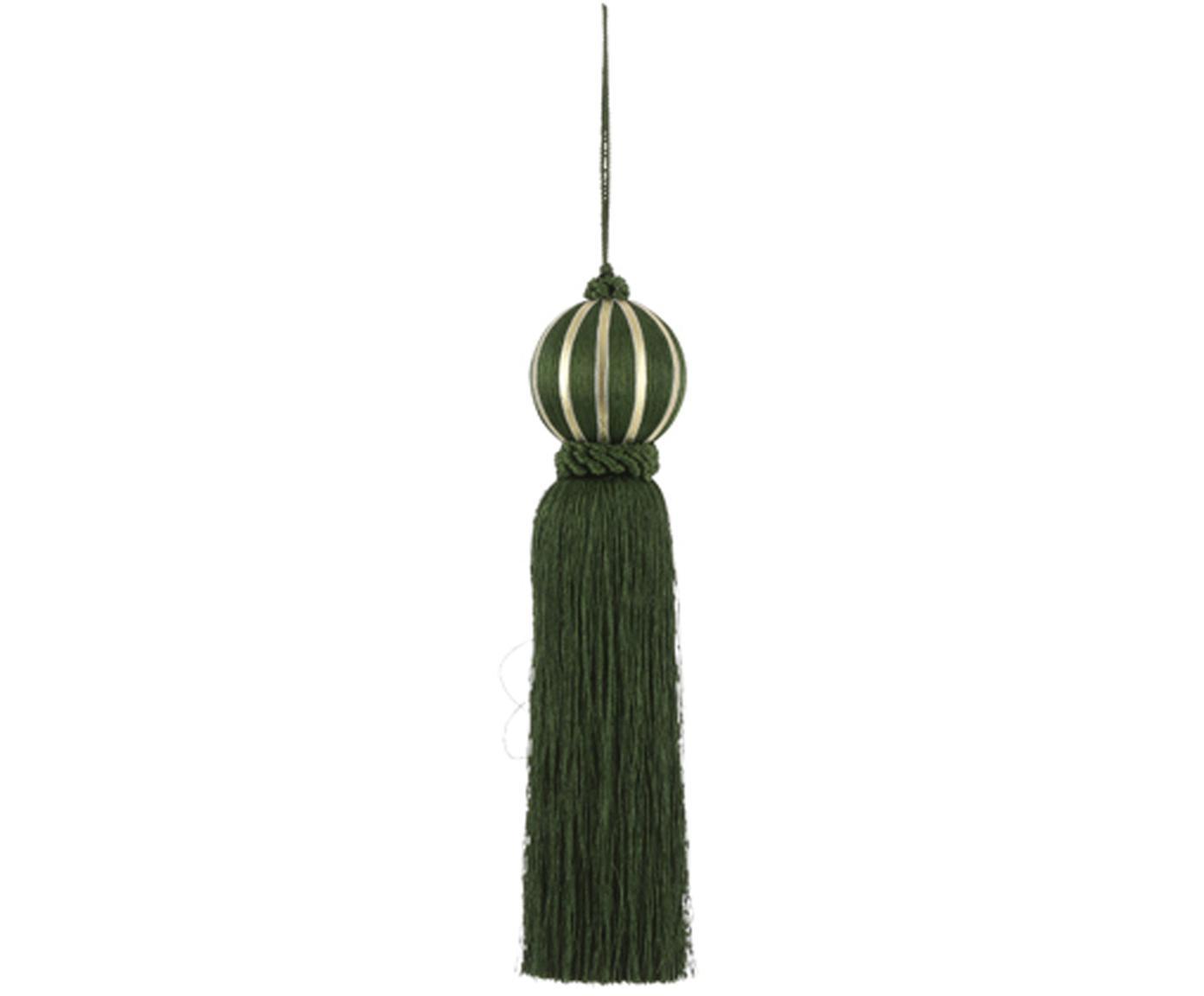 Decoratieve hangers Asena, 2 stuks, Polyester, Donkergroen, Ø 6 x H 27 cm