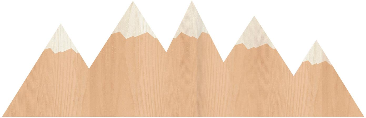 Applique montagne in legno Mountains, Lampada: compensato, rivestito, Marrone, crema, Larg. 50 x Alt. 16 cm