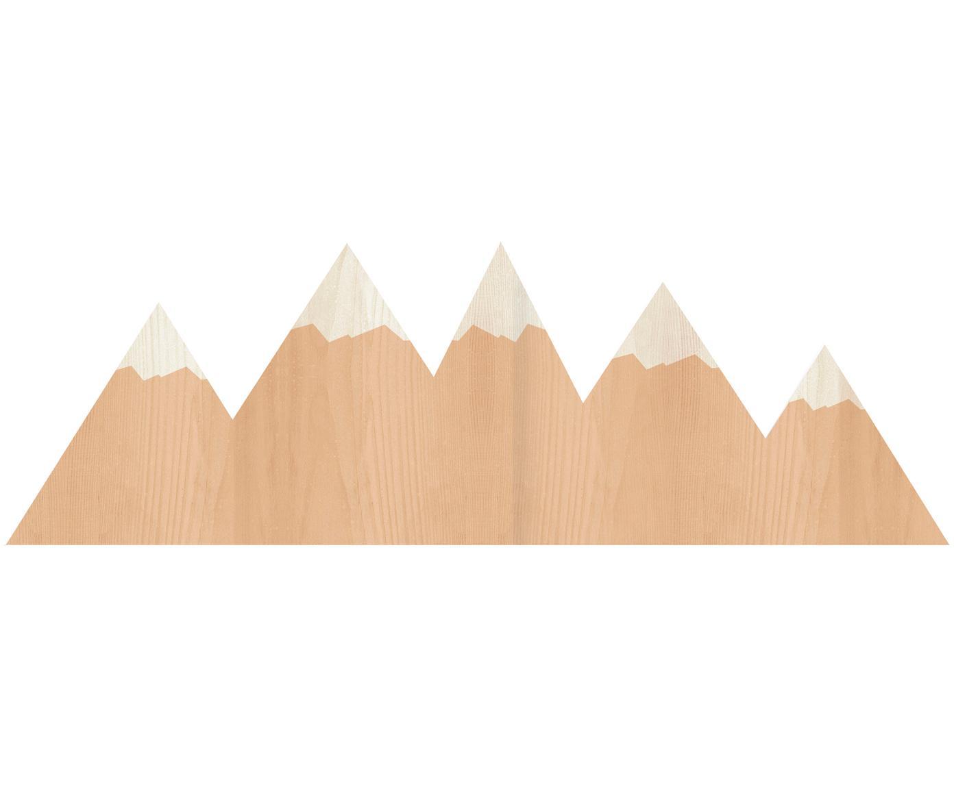 Aplique LED Mountains con enchufe, Lámpara: madera contrachapada, rec, Cable: cubierto en tela, Marrón, crema, An 50 x Al 16 cm