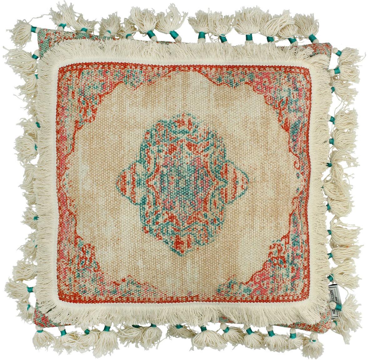 Kussen Latina met kwastjes, met vulling, Katoen, Beige, multicolour, 45 x 45 cm