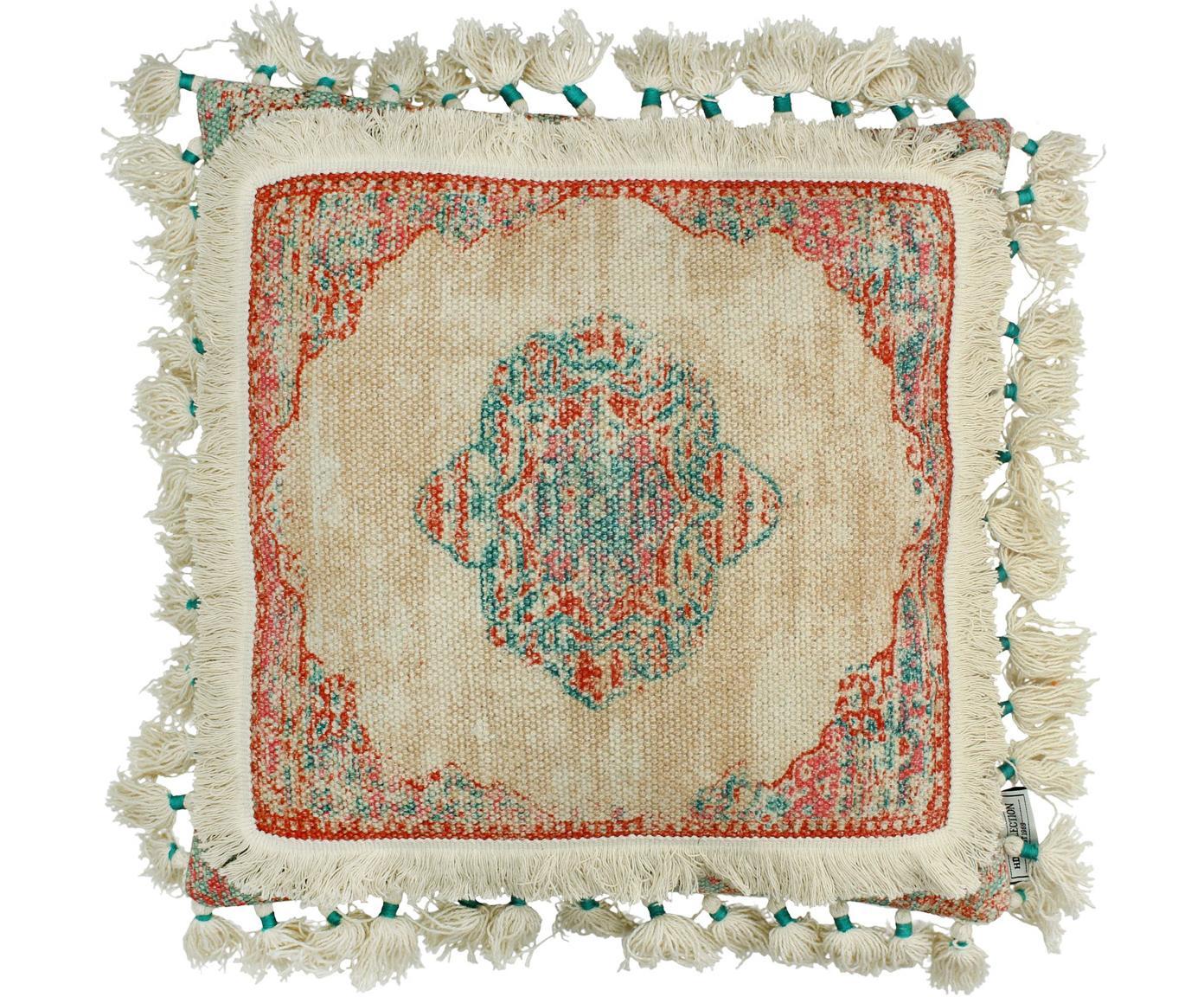 Cojín con borlas Latina, con relleno, Funda: algodón, Beige, multicolor, An 45 x L 45 cm