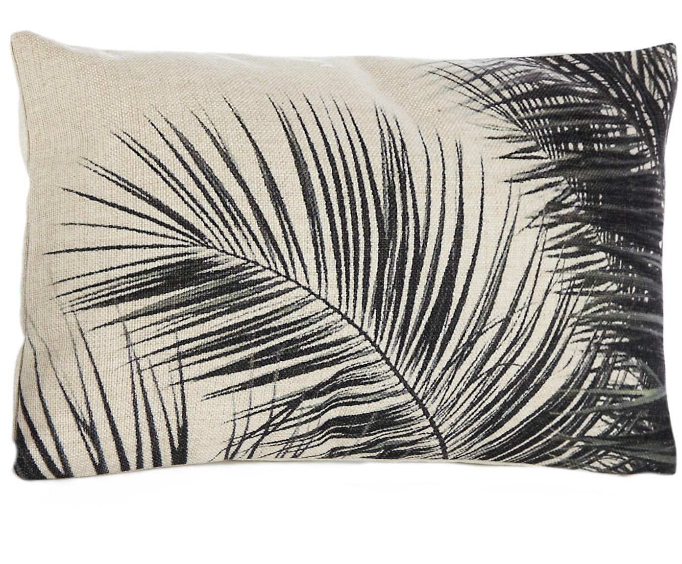 Kussenhoes Pesja met bladpatroon, 85% polyester, 15% katoen, Crèmekleurig, zwart, 30 x 50 cm