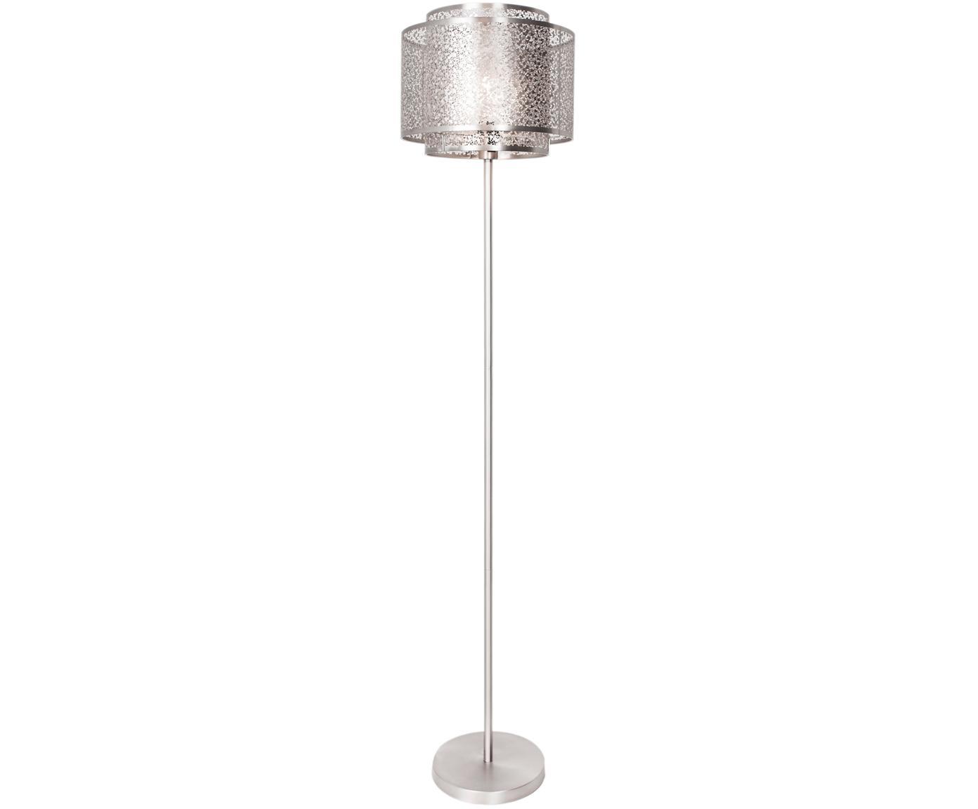 Lámpara de pie Mesh, Cable: plástico, Níquel, Ø 34 x Al 157 cm