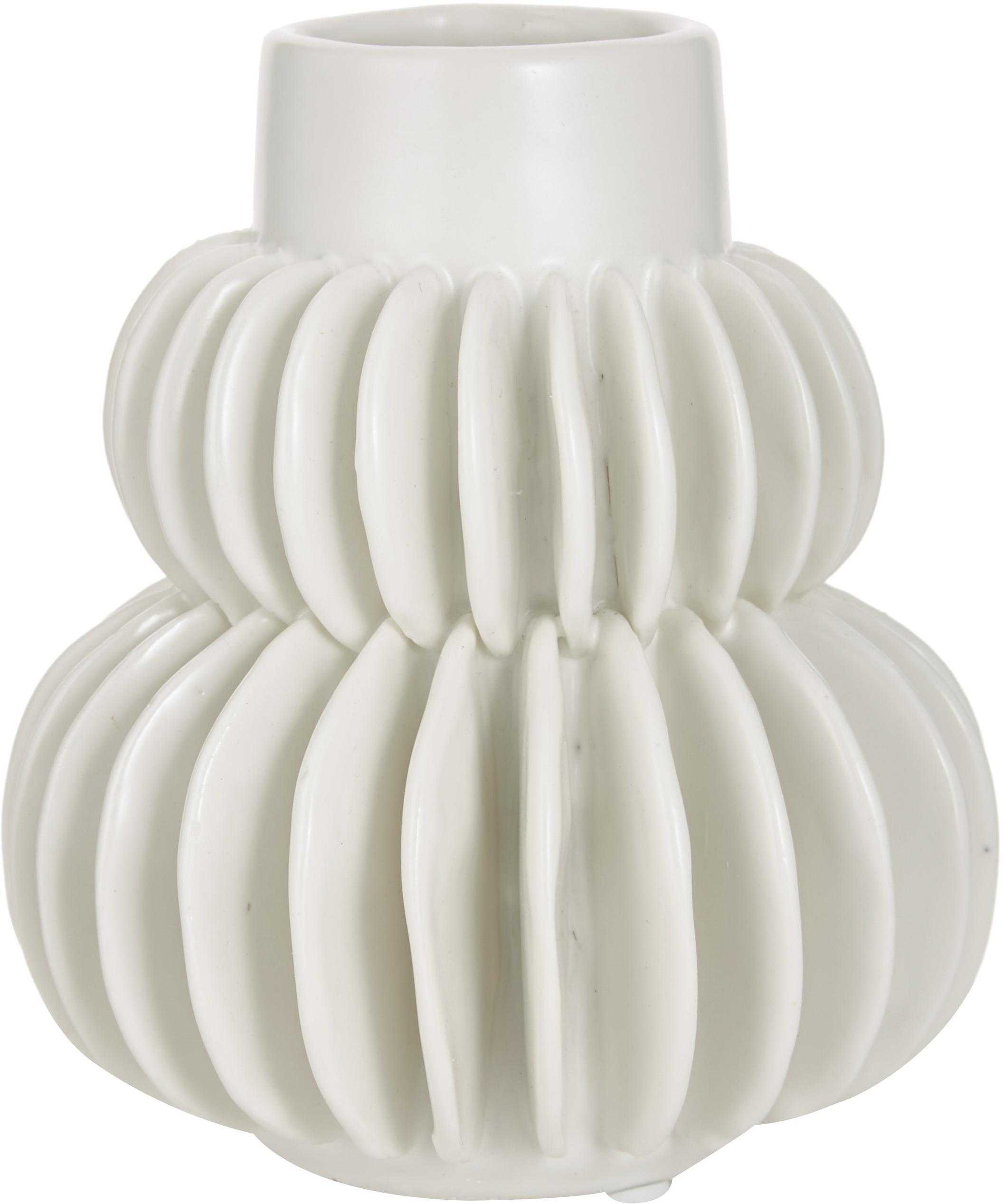 Kleine Vase Bela aus Steingut, Steingut, Weiß, Ø 12 x H 14 cm