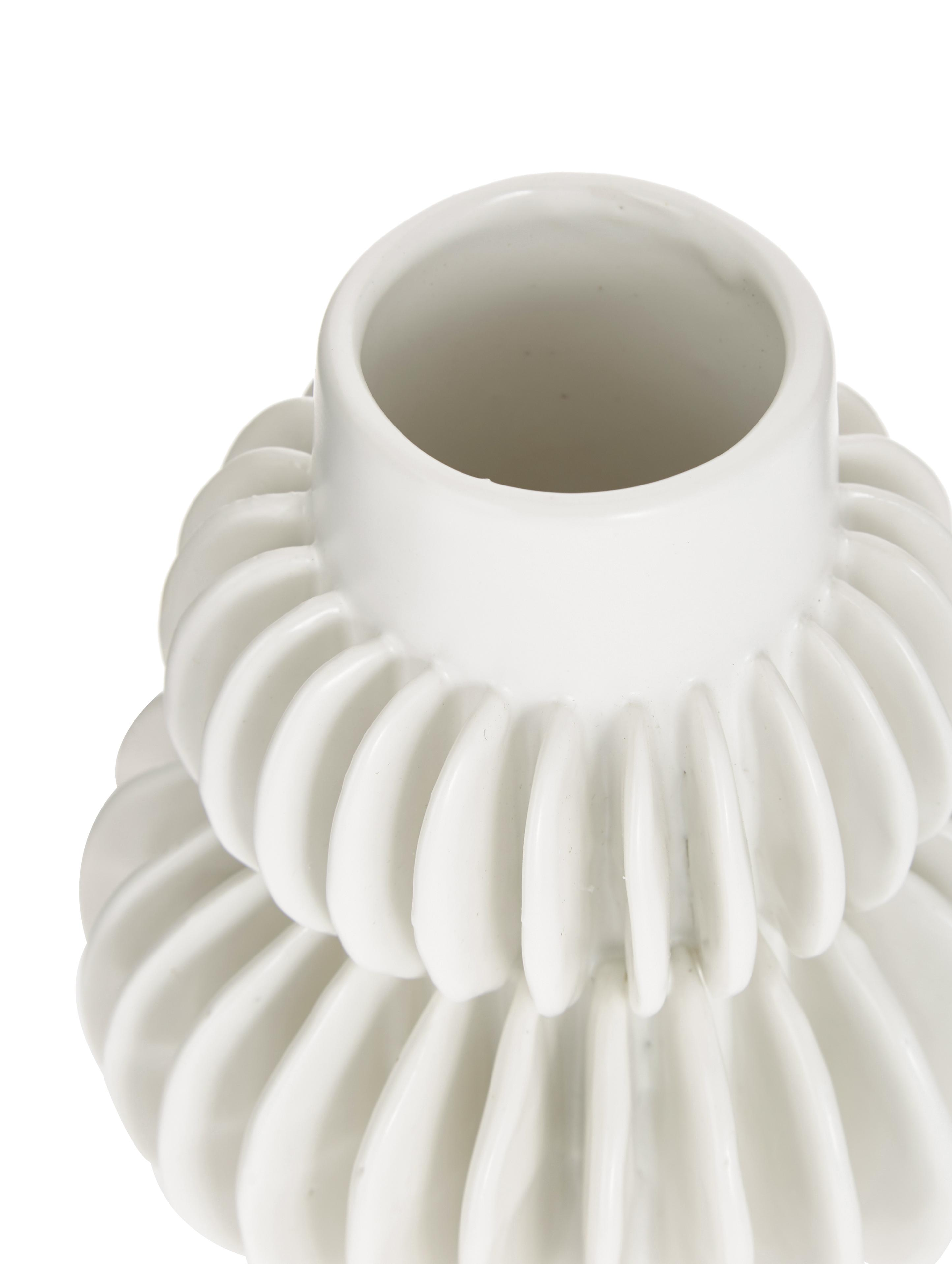 Vaso in terracotta Bela, Gres, Bianco, Ø 12 x Alt. 14 cm