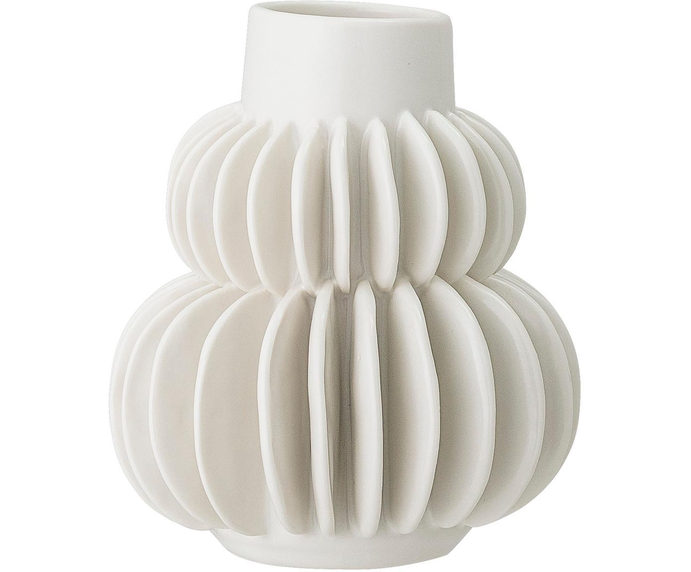 Mały wazon z kamionki Bela, Kamionka, Biały, Ø 12 x W 14 cm