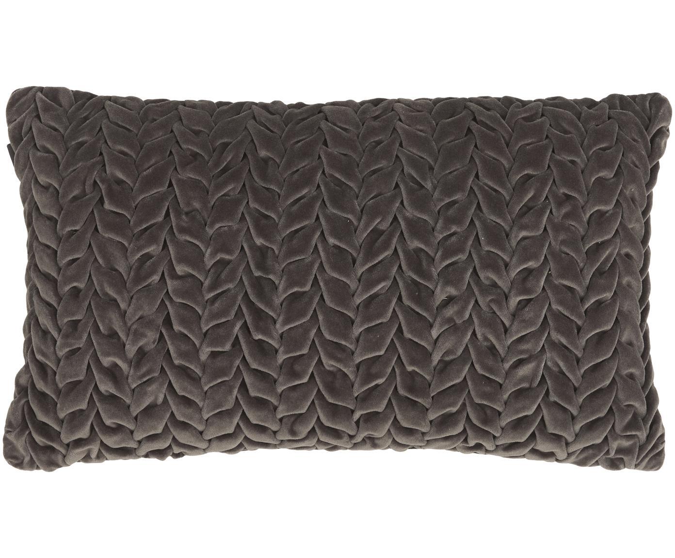 Samt-Kissen Smock mit geraffter Oberfläche, mit Inlett, Bezug: 100% Baumwollsamt, Grau, 30 x 50 cm