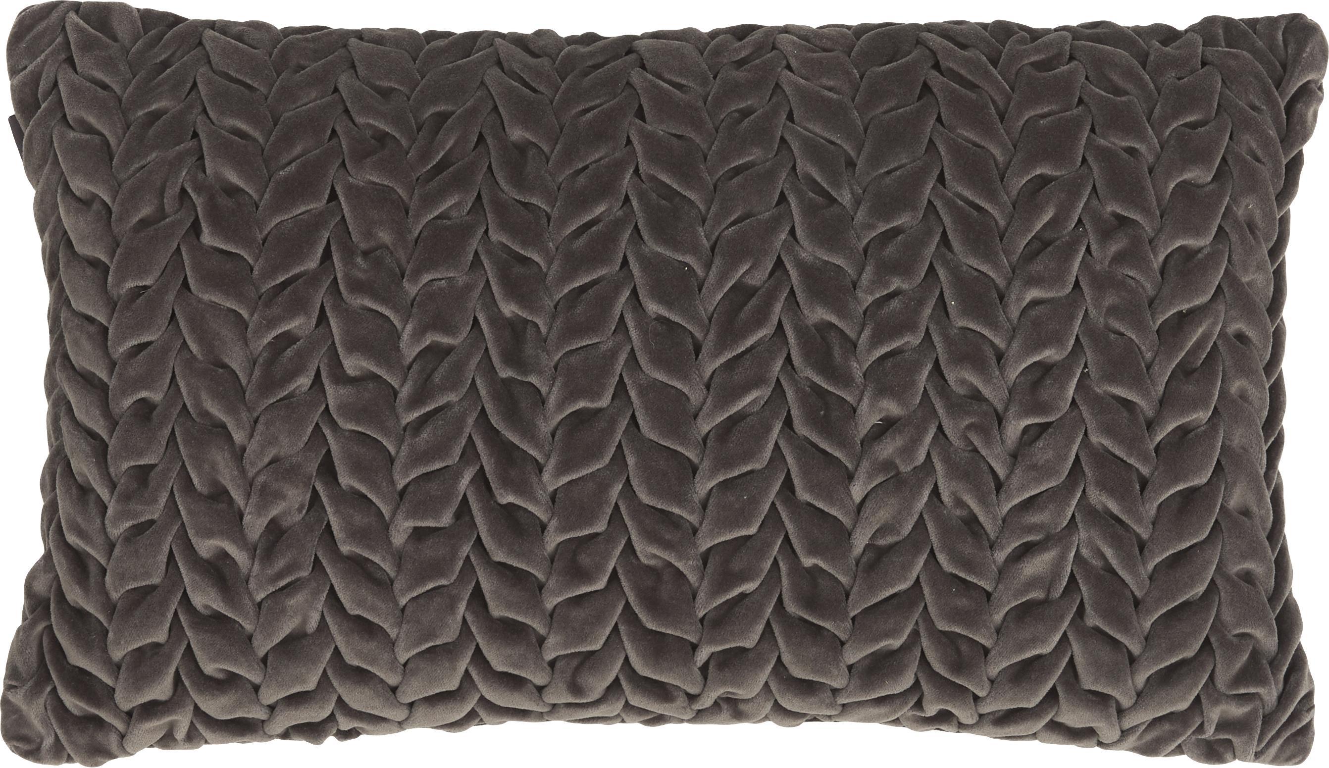 Fluwelen kussen Smock met geribbeld oppervlak, met vulling, Bekleding: 100% katoenfluweel, Grijs, 30 x 50 cm