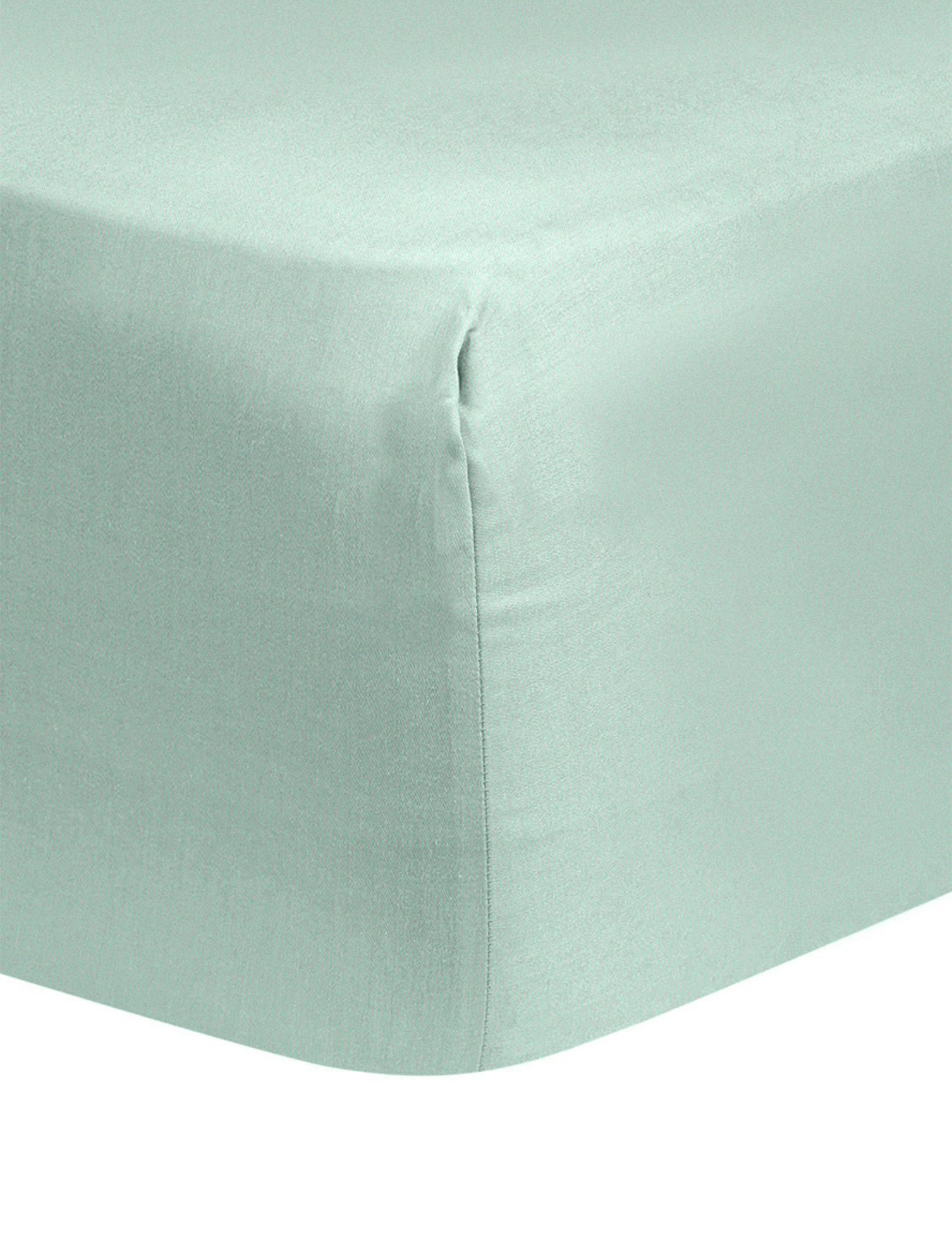 Spannbettlaken Comfort, Baumwollsatin, Webart: Satin, leicht glänzend, Salbeigrün, 160 x 200 cm
