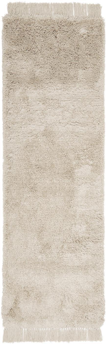 Alfombra de pelo largo con flecos Dreamy, Parte superior: 100%poliéster, Reverso: 100%algodón, Crema, An 80 x L 250 cm