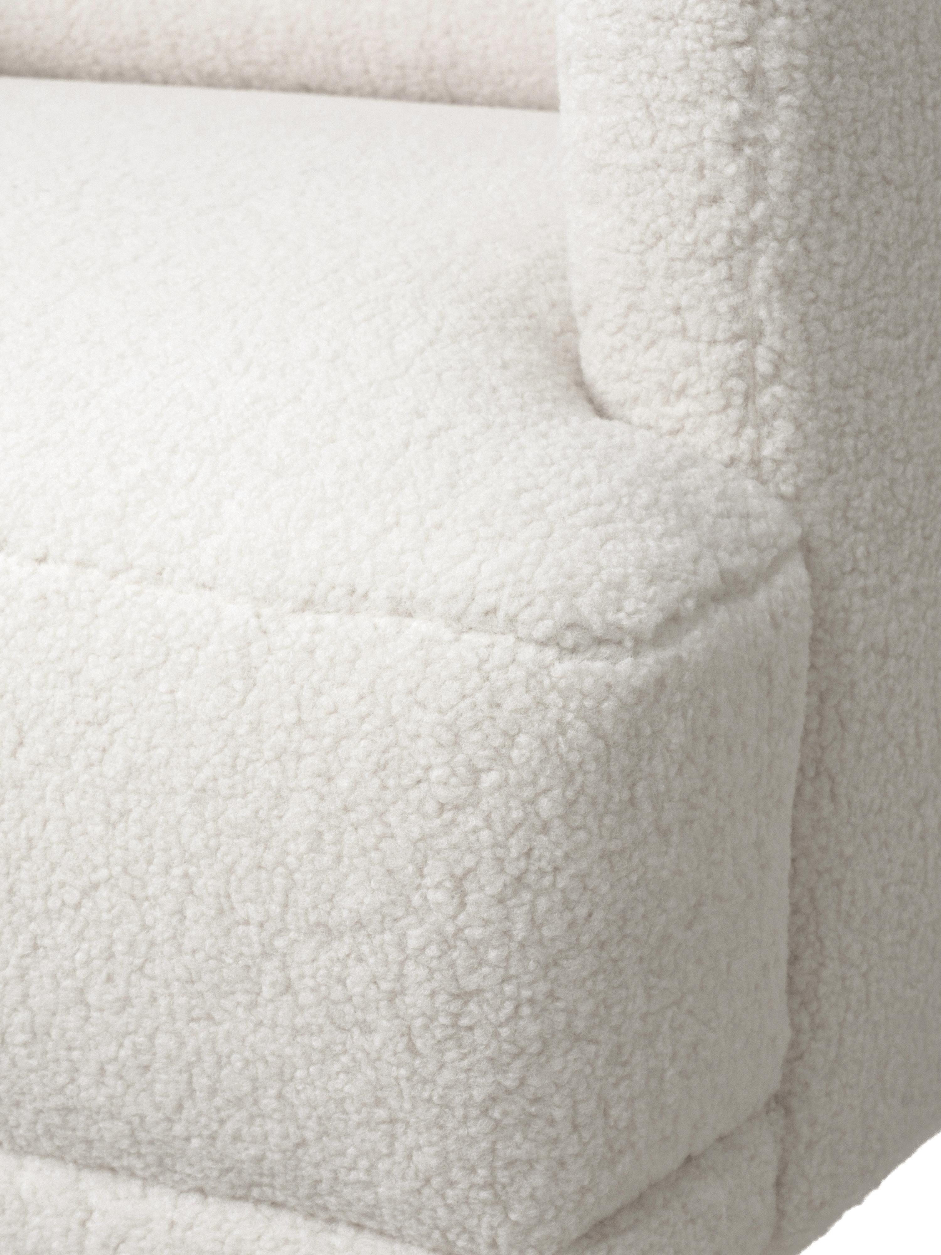 Fauteuil classique peluche Fluente, Tissu blanc crème