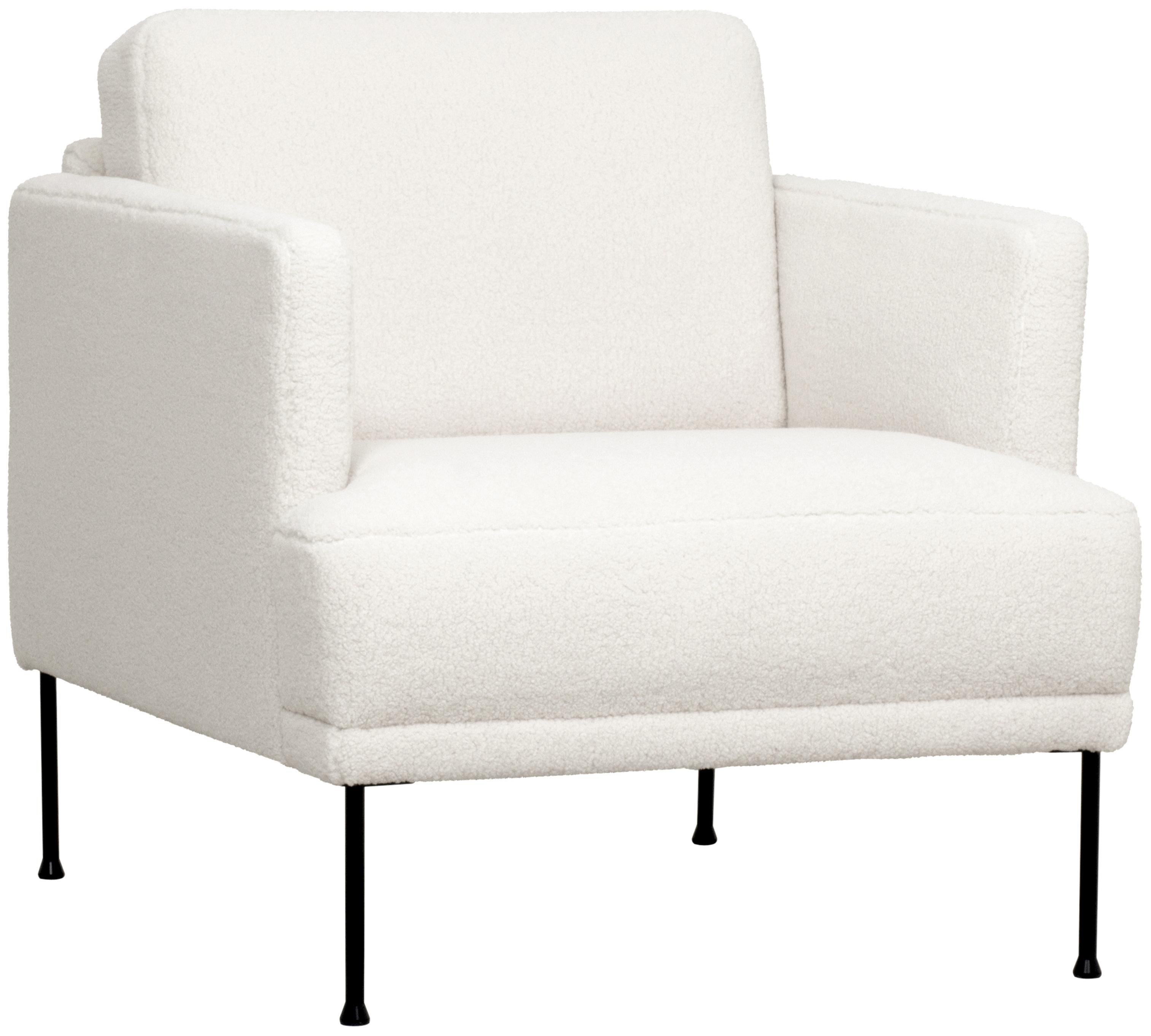 Teddy-Sessel Fluente, Bezug: 100% Polyester (Teddyfell, Gestell: Massives Kiefernholz, Füße: Metall, pulverbeschichtet, Teddy Cremeweiß, B 74 x T 85 cm