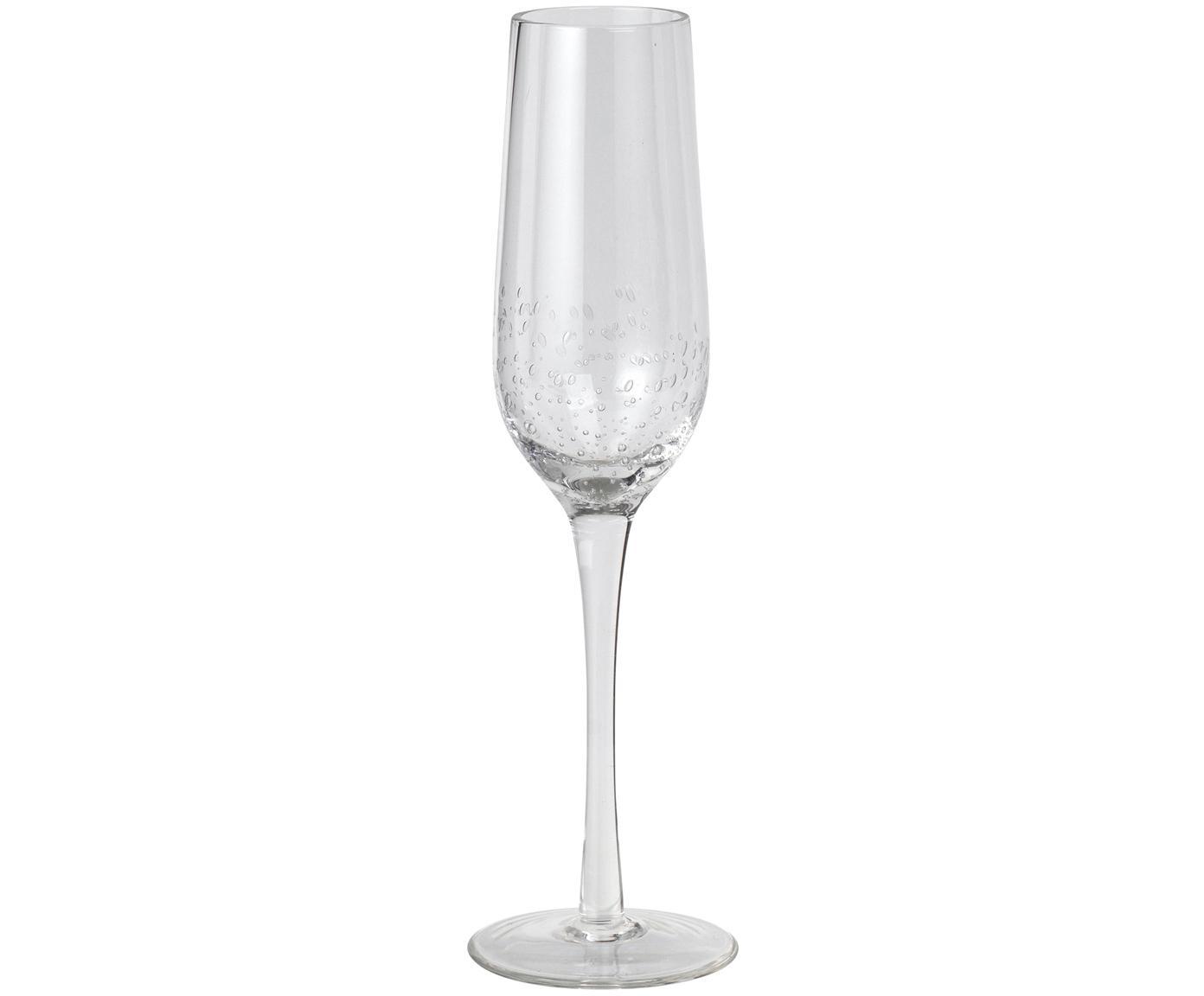 Kieliszek do szampana ze szkła dmuchanego Bubble, 4 szt., Szkło dmuchane, Transparentny z bąbelkami powietrza, Ø 7 x 25 cm