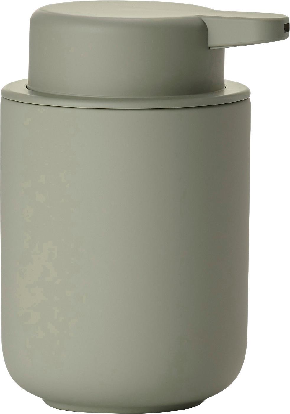 Dispenser sapone in terracotta Ume, Contenitore: terracotta rivestita con , Verde eucalipto, Ø 8 x Alt. 13 cm