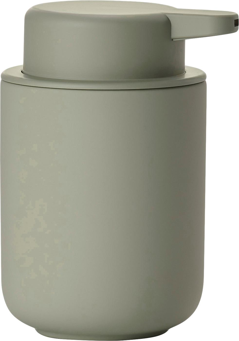 Seifenspender Ume aus Steingut, Behälter: Steingut überzogen mit So, Eukalyptusgrün, Ø 8 x H 13 cm