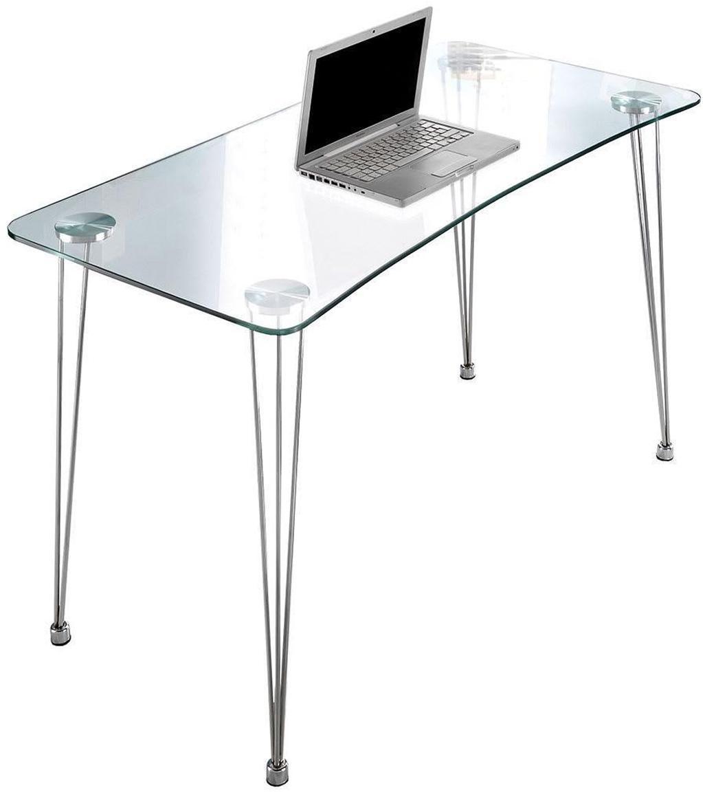 Escritorio N.Y., Patas: metal cromado, Transparente, plateado, An 120 x Al 74 cm