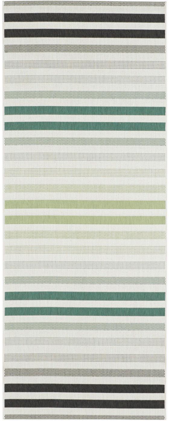 Gestreepte in- en outdoor loper Paros, Polypropyleen, Groen, beige, antraciet, 80 x 200 cm