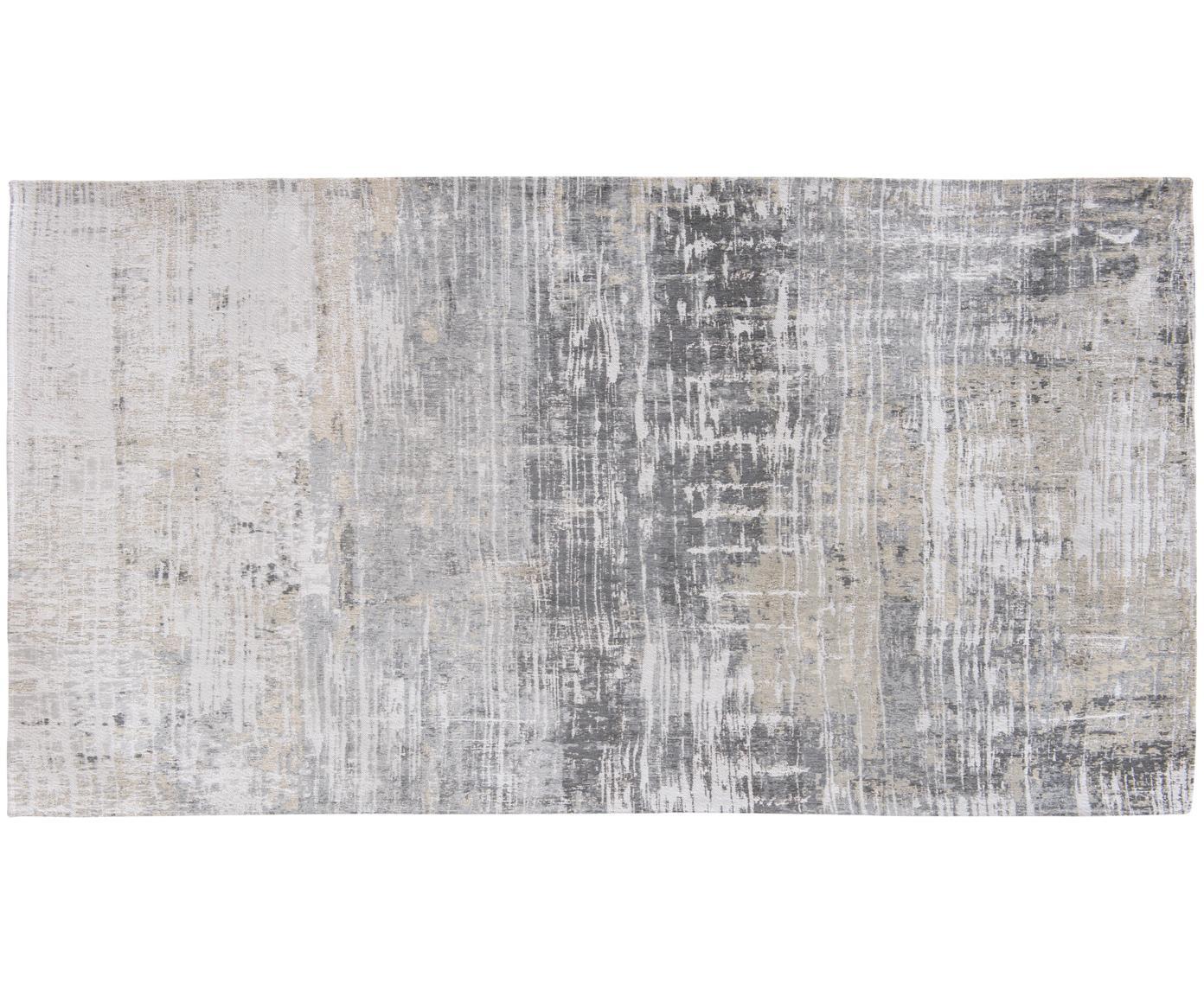 Design vloerkleed Streaks, Bovenzijde: 85%katoen, 15%hoogglanz, Weeftechniek: jacquard, Onderzijde: katoenmix, gecoat met lat, Grijstinten, B 80 x L 150 cm (maat XS)