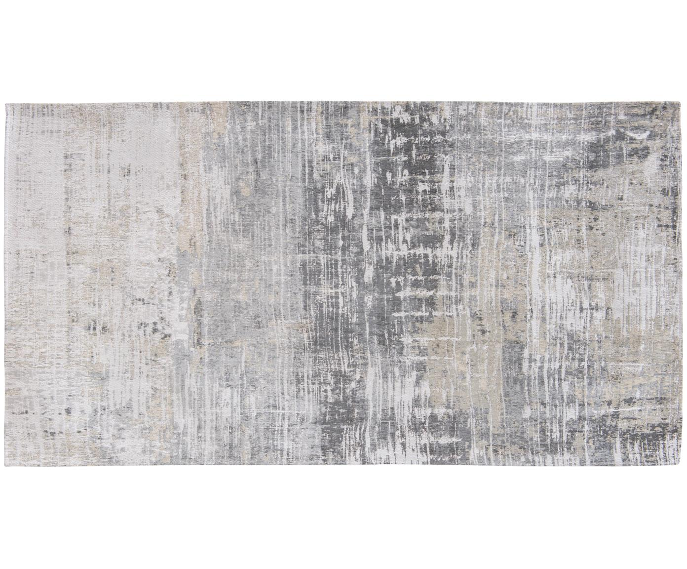 Designteppich Streaks in Grau, Vorderseite: 85%Baumwolle, 15%hochgl, Webart: Jacquard, Rückseite: Baumwollgemisch, latexbes, Grautöne, B 80 x L 150 cm (Größe XS)