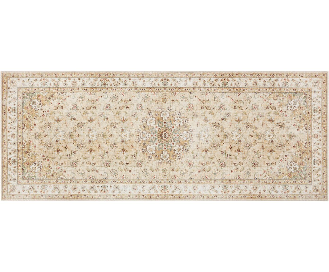 Läufer Nain im Orient Style, 100% Polysulfones (PES), Gelb, Beigetöne, 80 x 200 cm