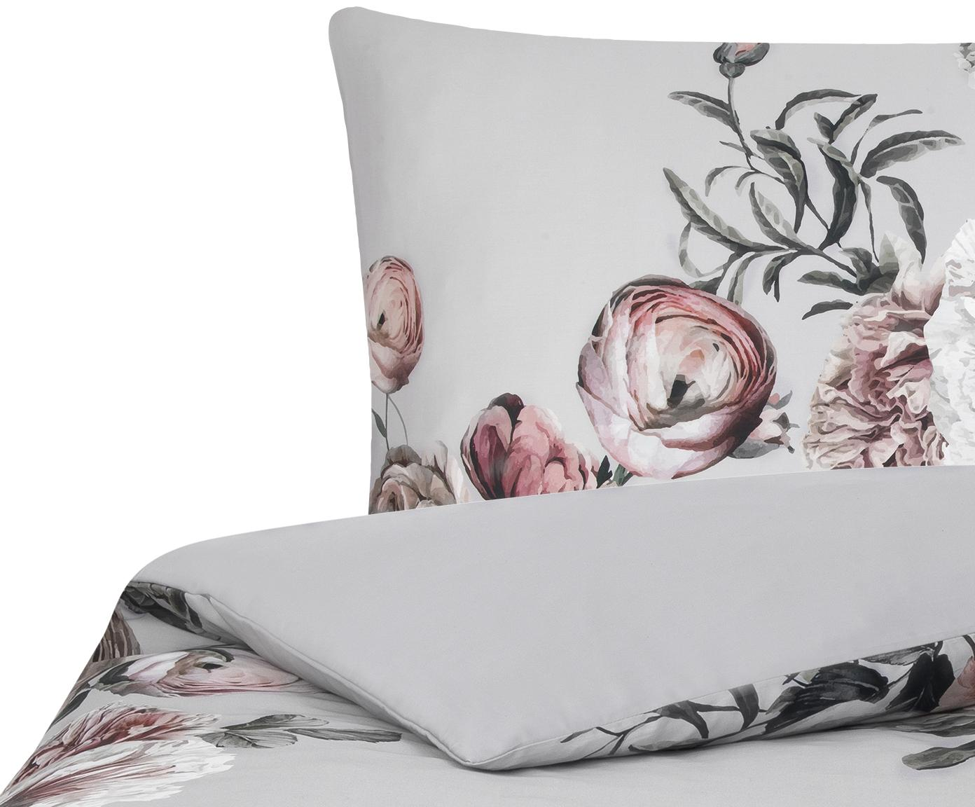 Pościel z satyny bawełnianej Blossom, Wielobarwny, szary, 135 x 200 cm