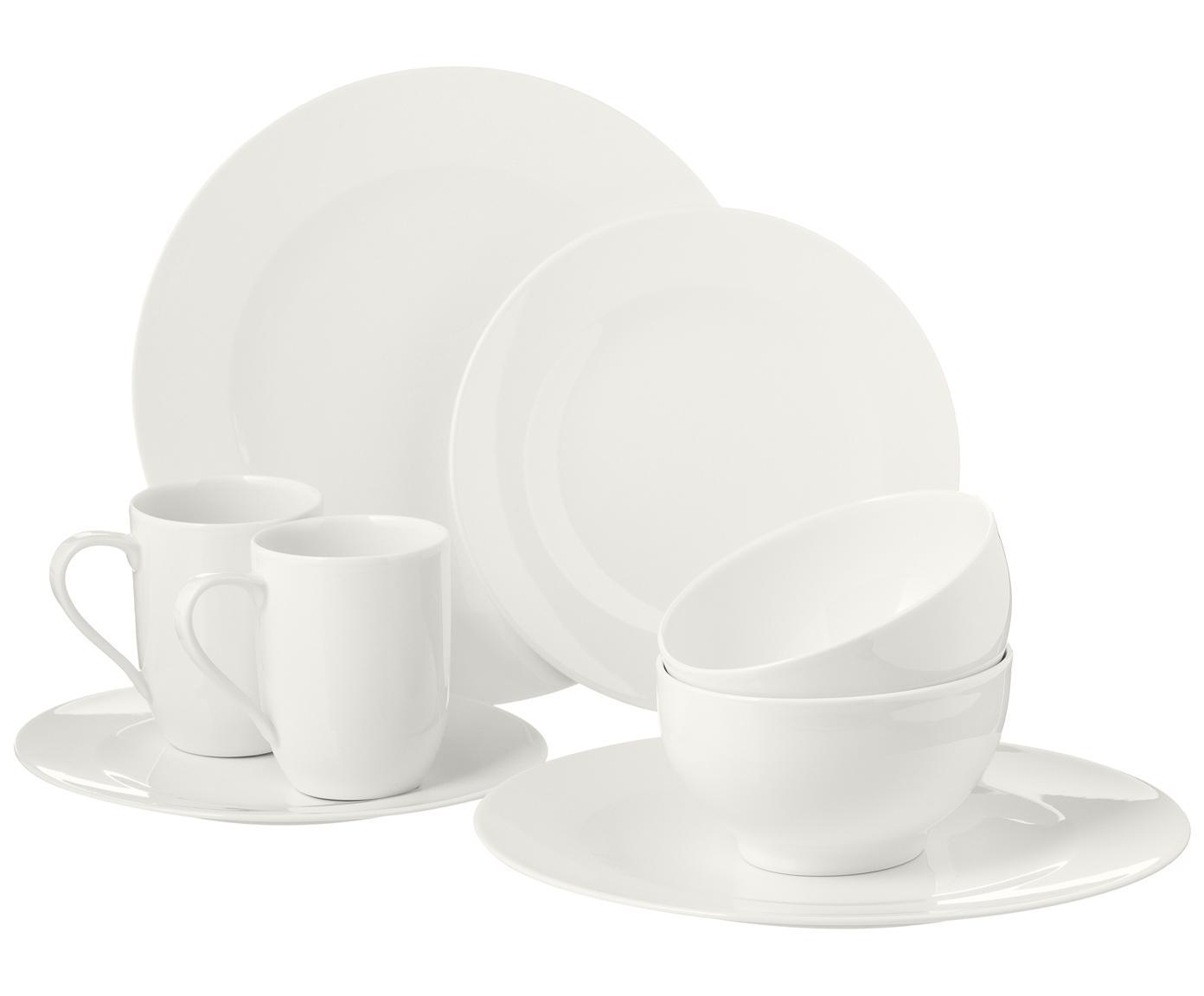 Vajilla de porcelana For Me, 4comensales(16pzas.), Porcelana, Blanco crudo azulado, Tamaños diferentes
