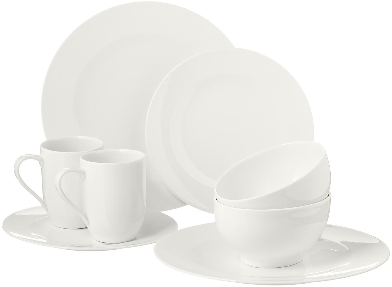 Set di stoviglie in porcellana For Me 16 pz, Porcellana, Bianco latteo, Set in varie misure