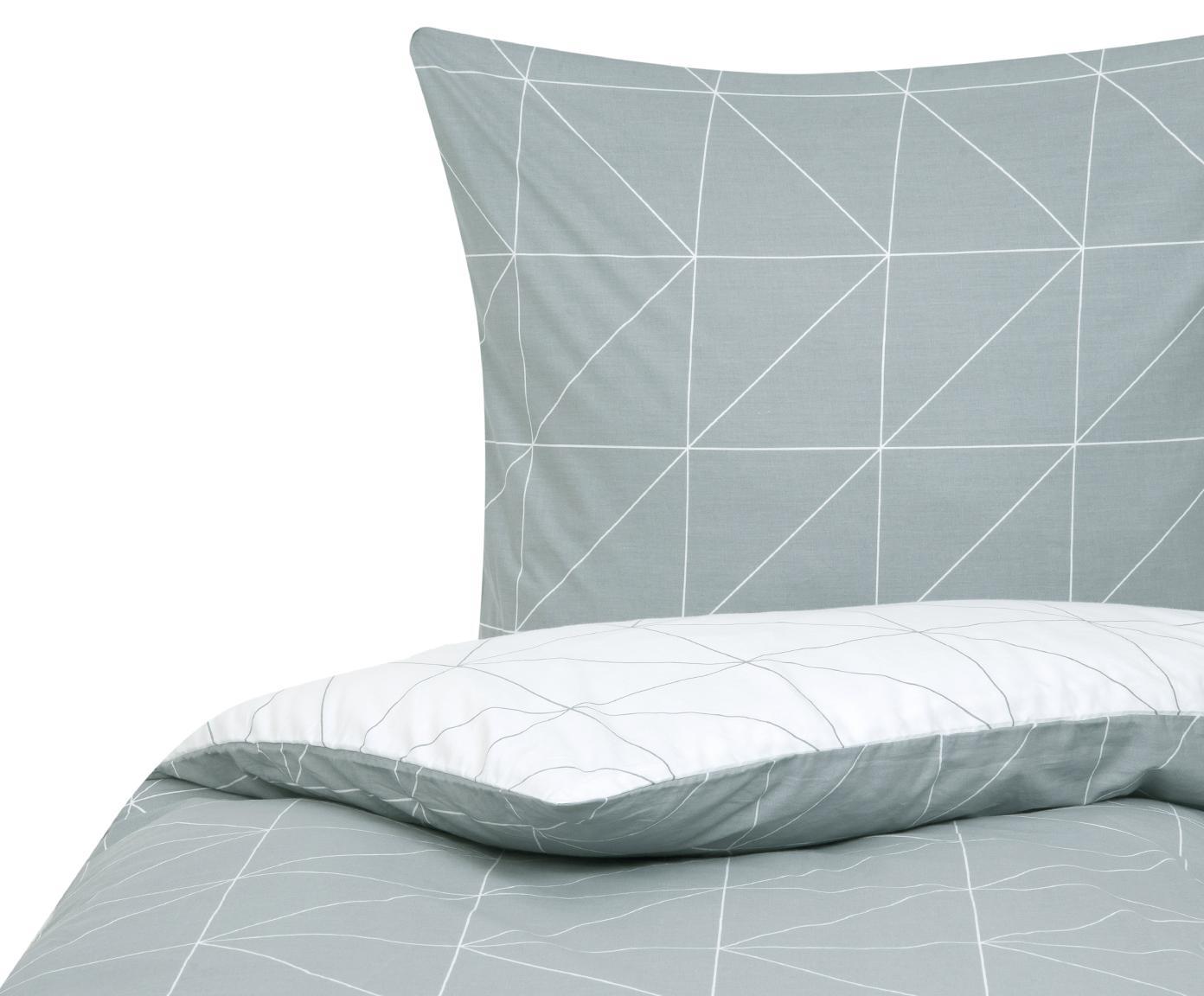 Funda nórdica doble cara de tejido renforcé Marla, Verde salvia, blanco crema, Cama 90 cm (150 x 220 cm)