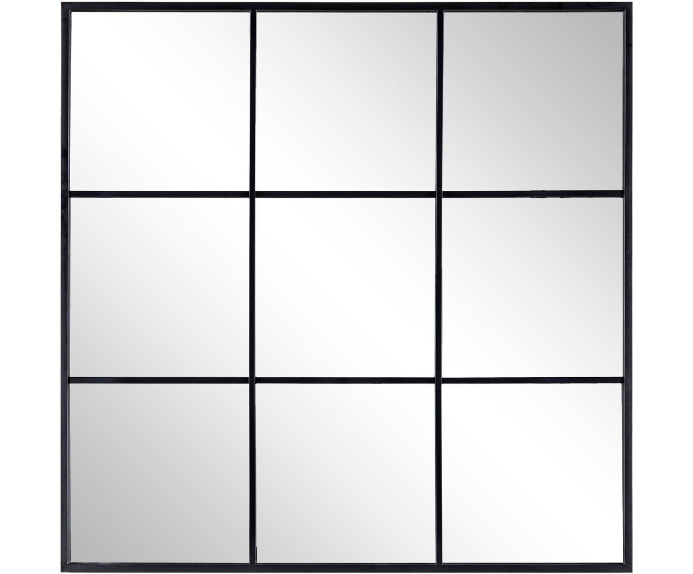 Specchio da parete con cornice in metallo Nucleos, Cornice: metallo rivestito, Superficie dello specchio: lastra di vetro, Nero, Larg. 90 x Alt. 90 cm