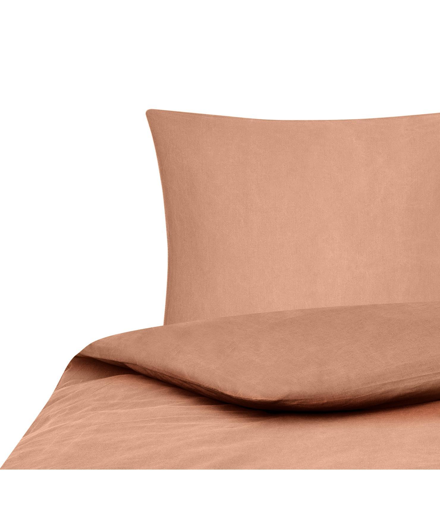 Gewaschene Baumwoll-Bettwäsche Arlene in Apricot, Webart: Renforcé Fadendichte 144 , Apricot, 155 x 220 cm + 1 Kissen 80 x 80 cm