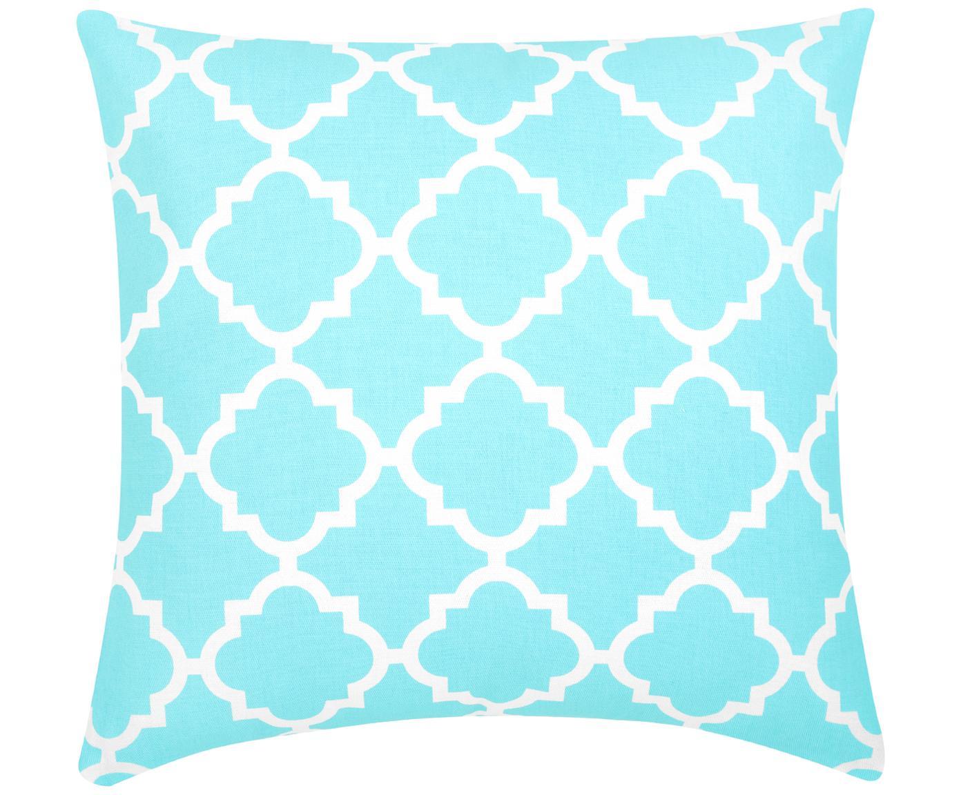 Kussenhoes Lana met grafisch patroon, 100% katoen, Turquoise, wit, 45 x 45 cm